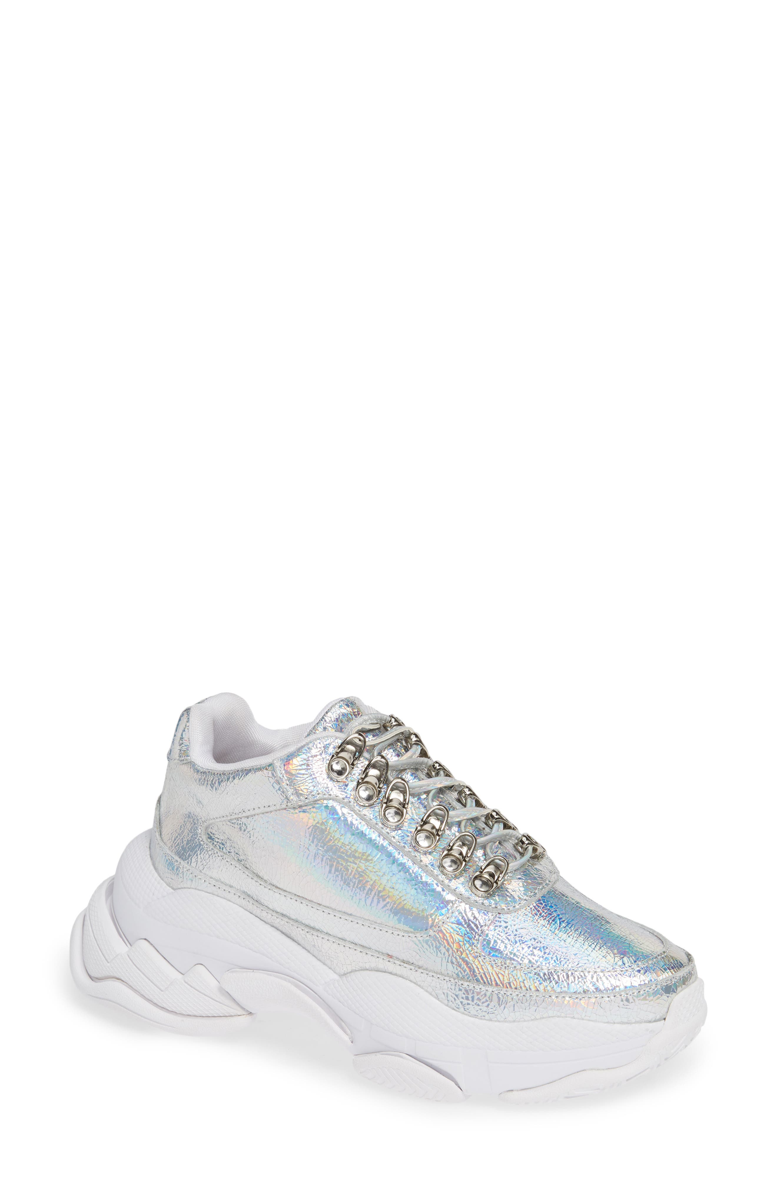 Hotspot Lace-Up Sneaker,                         Main,                         color, SILVER CRINKLE
