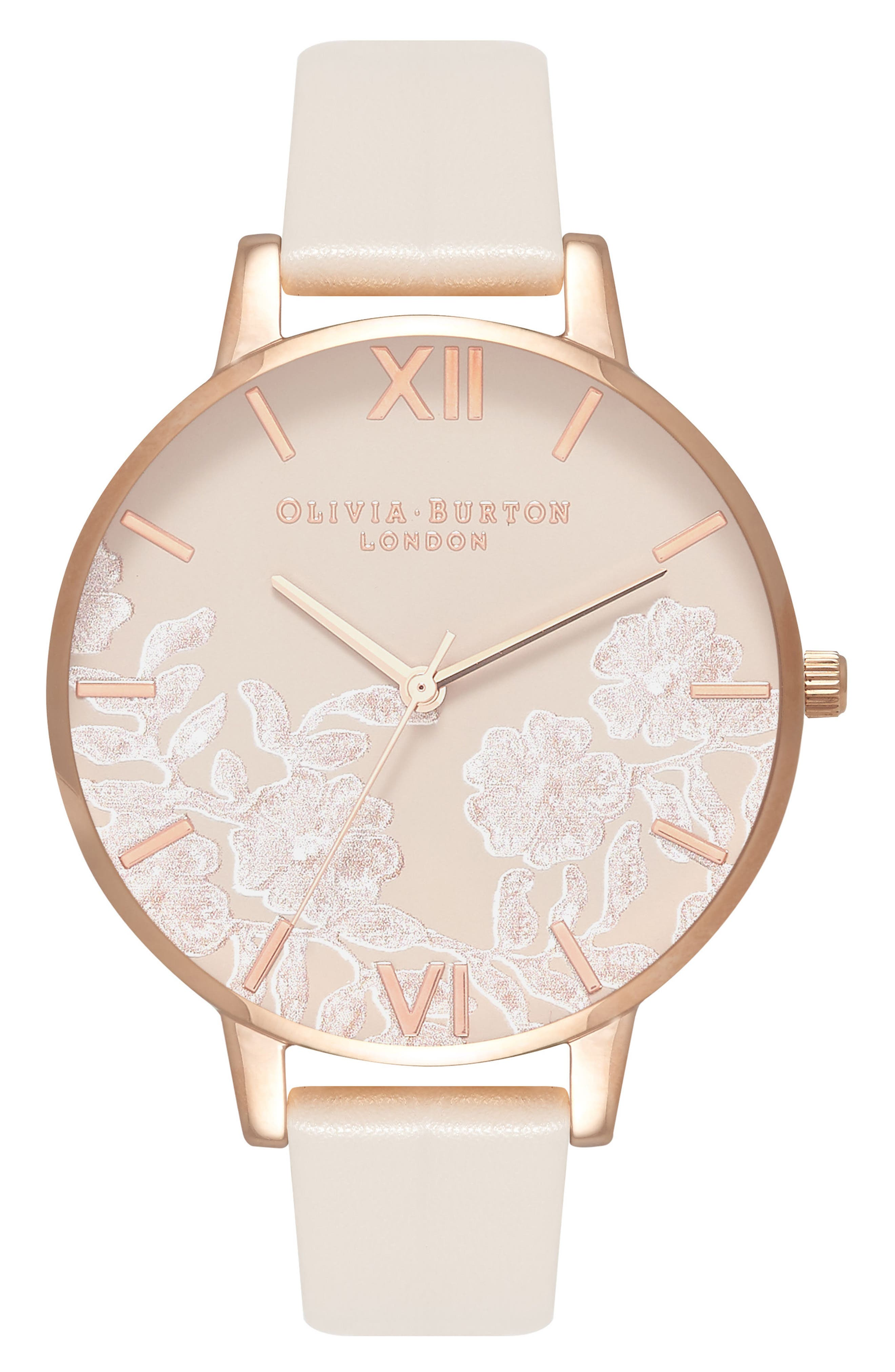 Lace Detail Faux Leather Strap Watch, 38mm,                             Main thumbnail 1, color,                             NUDE/ GREY FLORAL/ ROSE GOLD
