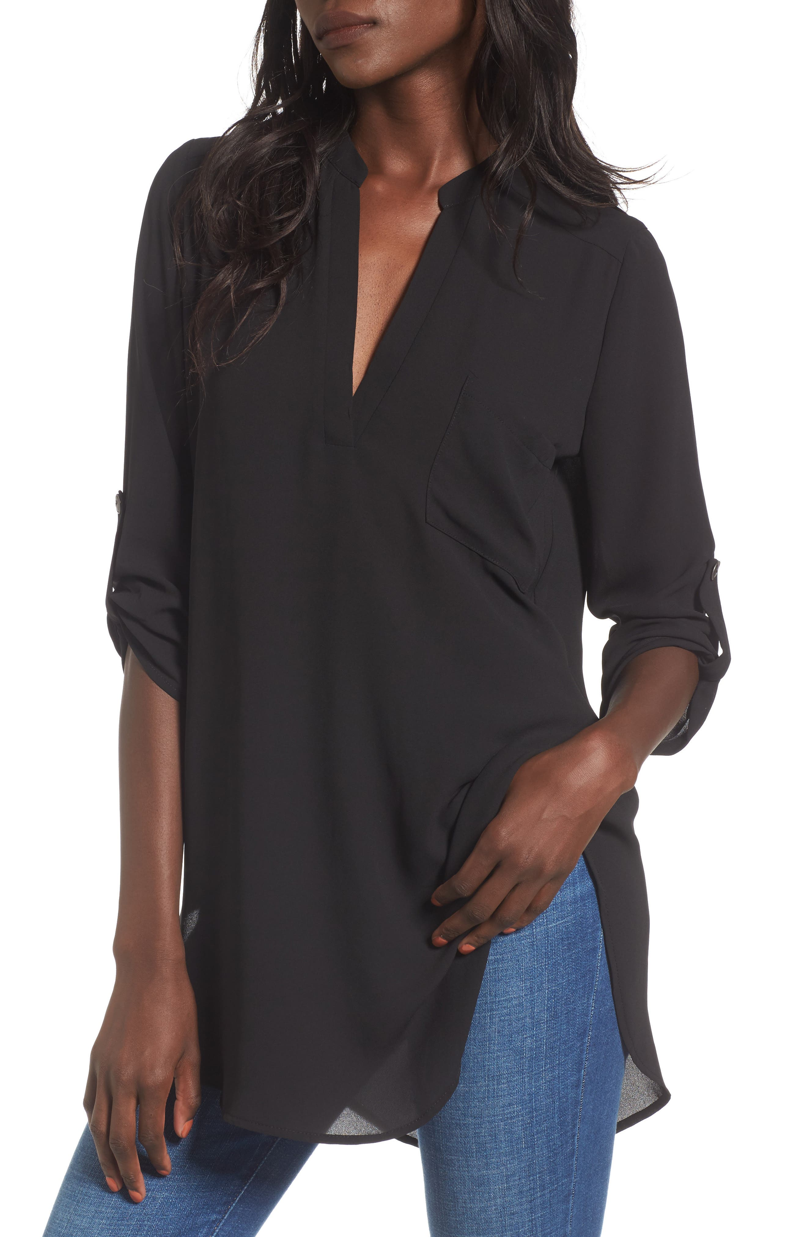 Perfect Roll Tab Sleeve Tunic,                             Main thumbnail 1, color,                             BLACK