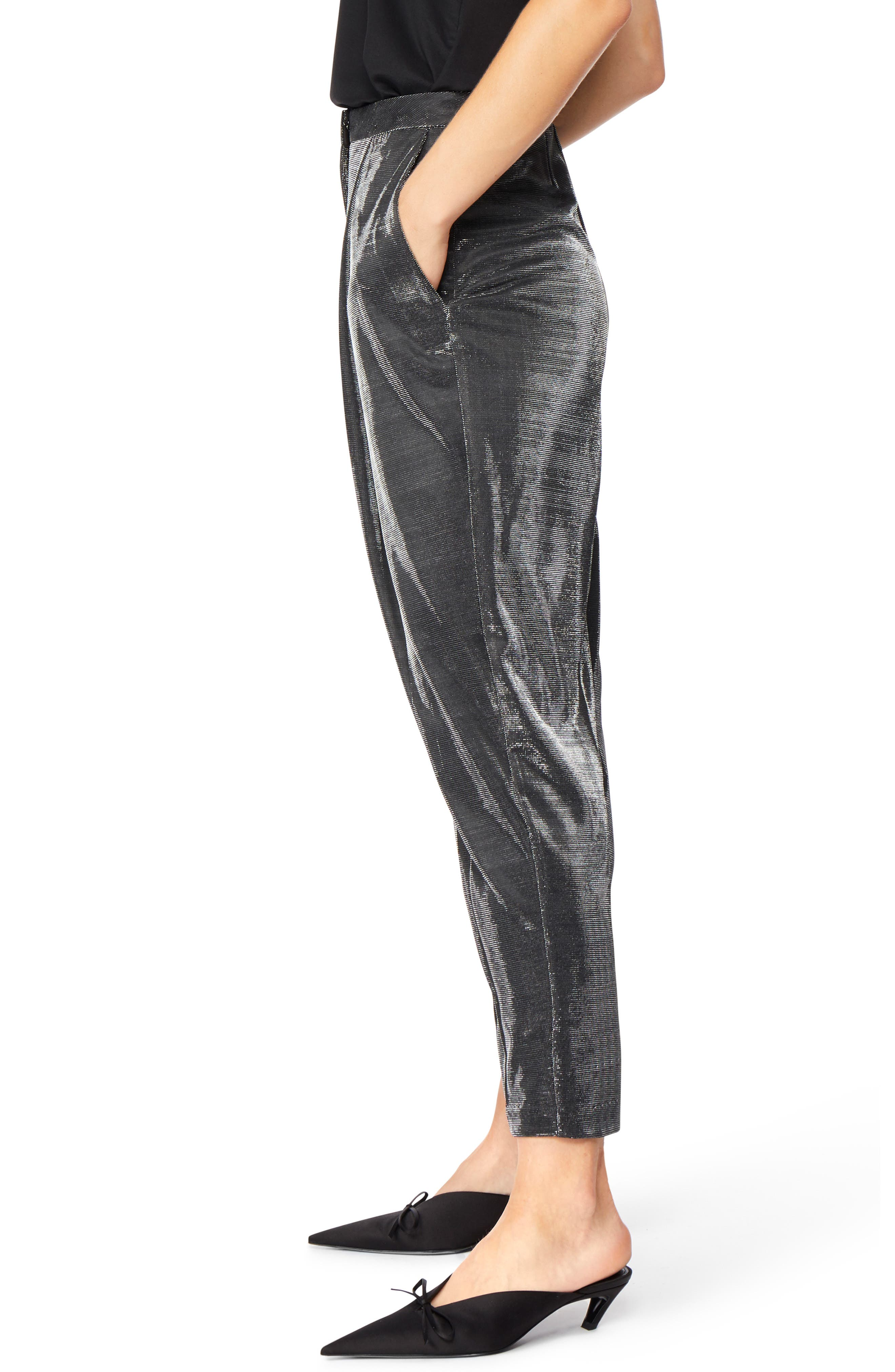 Shimmer Trousers,                             Alternate thumbnail 3, color,                             JET BLACK WITH SILVER