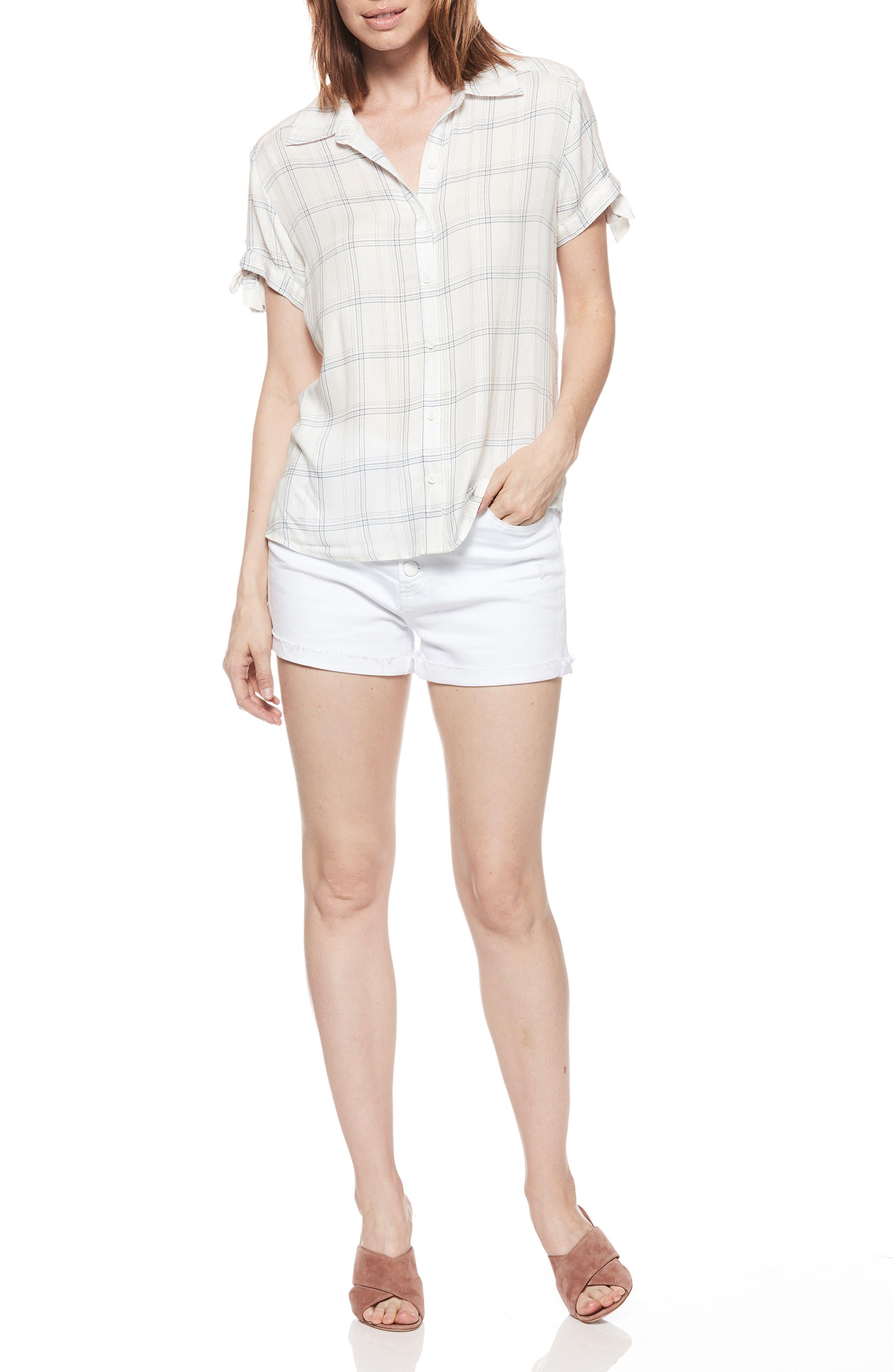 Avery Plaid Shirt,                             Alternate thumbnail 3, color,                             WHITE / BIJOU BLUE