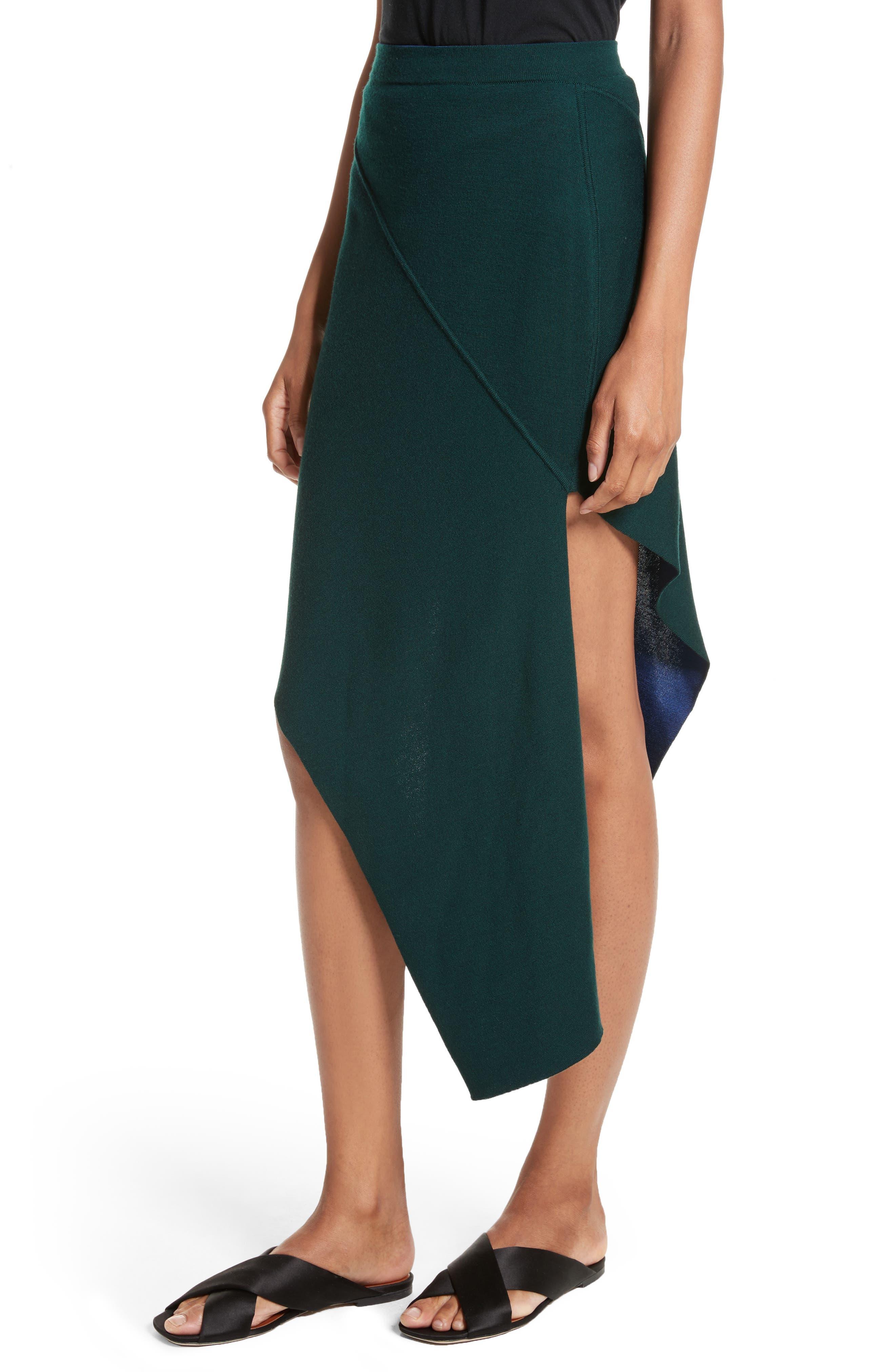 Reversible Asymmetrical Knit Midi Skirt,                             Alternate thumbnail 5, color,