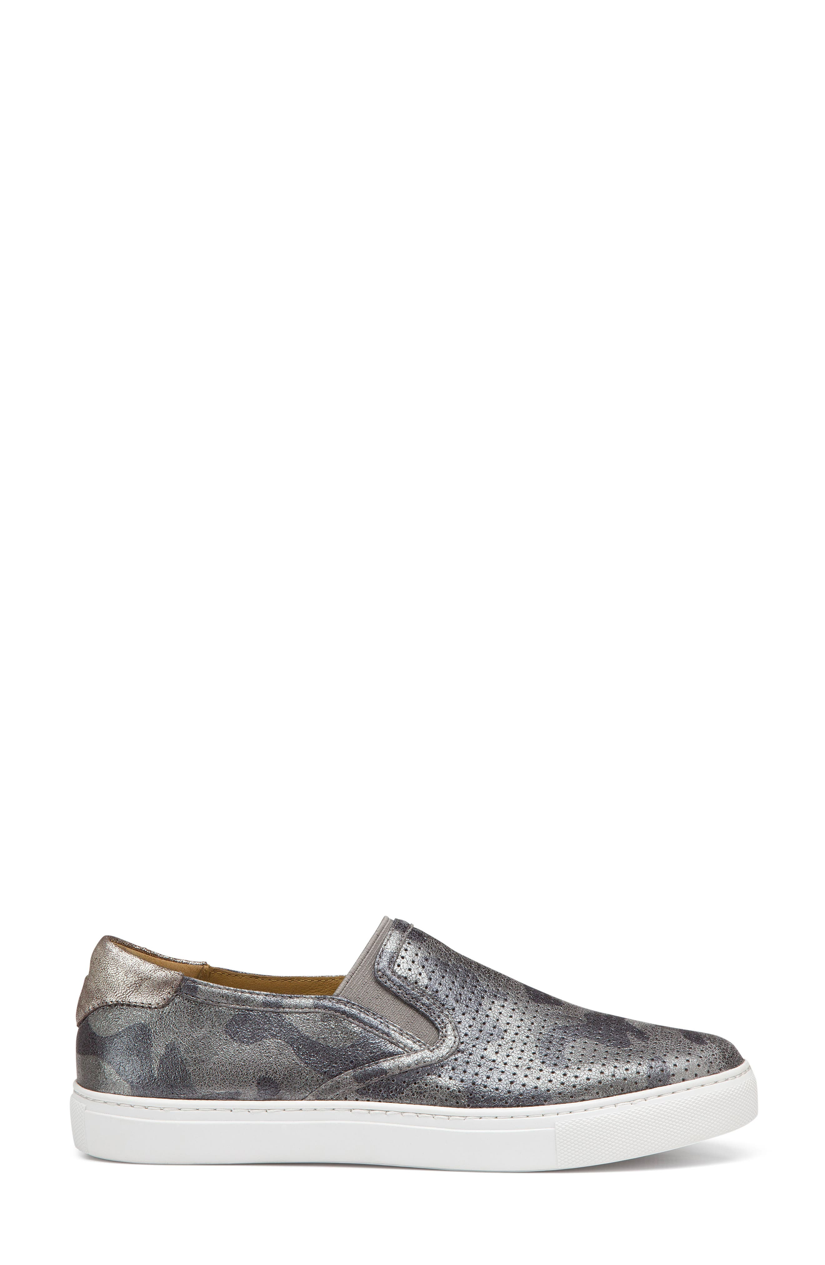 Lillian Water Resistant Slip-On Sneaker,                             Alternate thumbnail 3, color,                             PEWTER CAMO LEATHER
