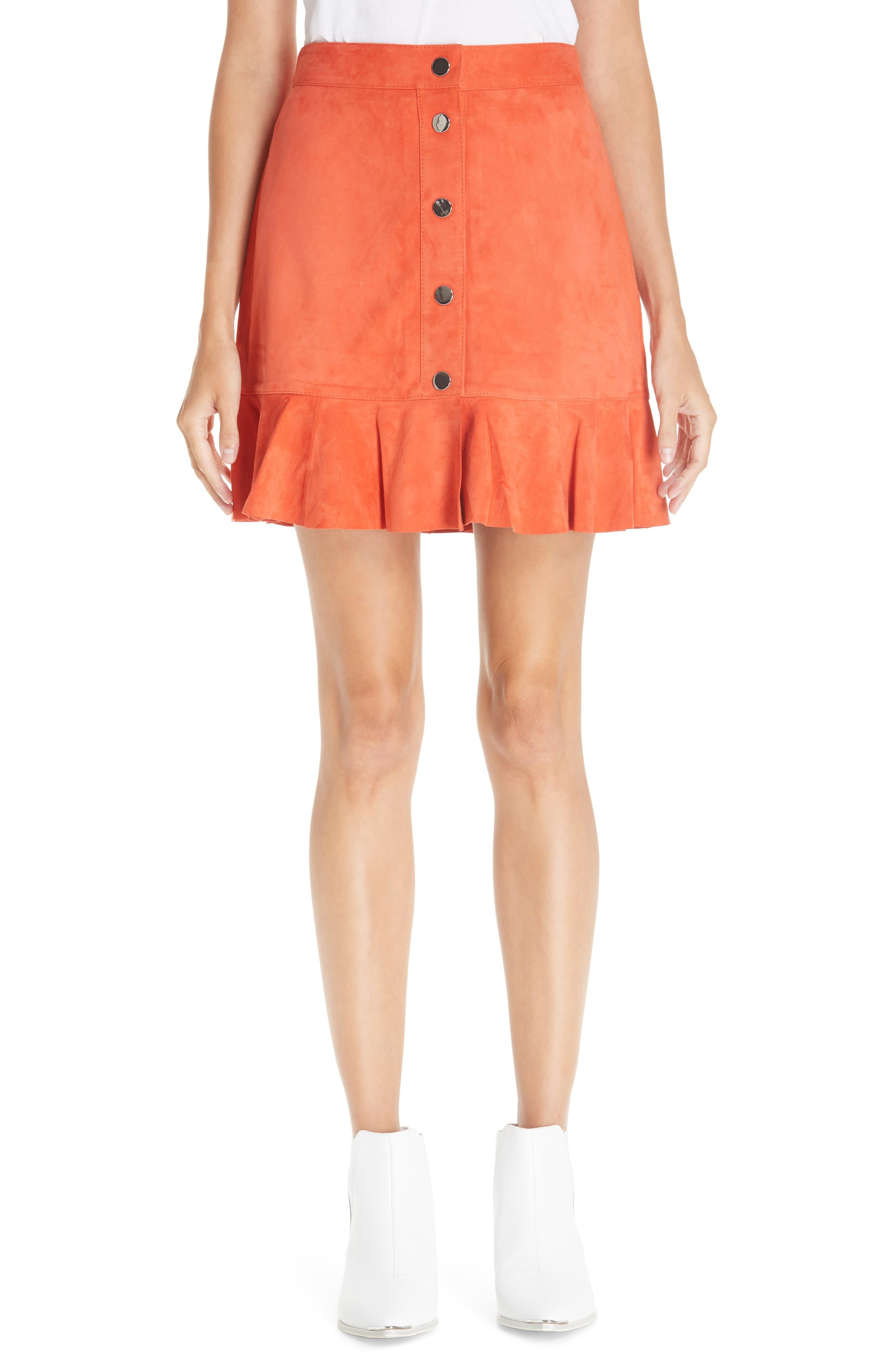 GANNI Salvia Suede Skirt, Main, color, 800