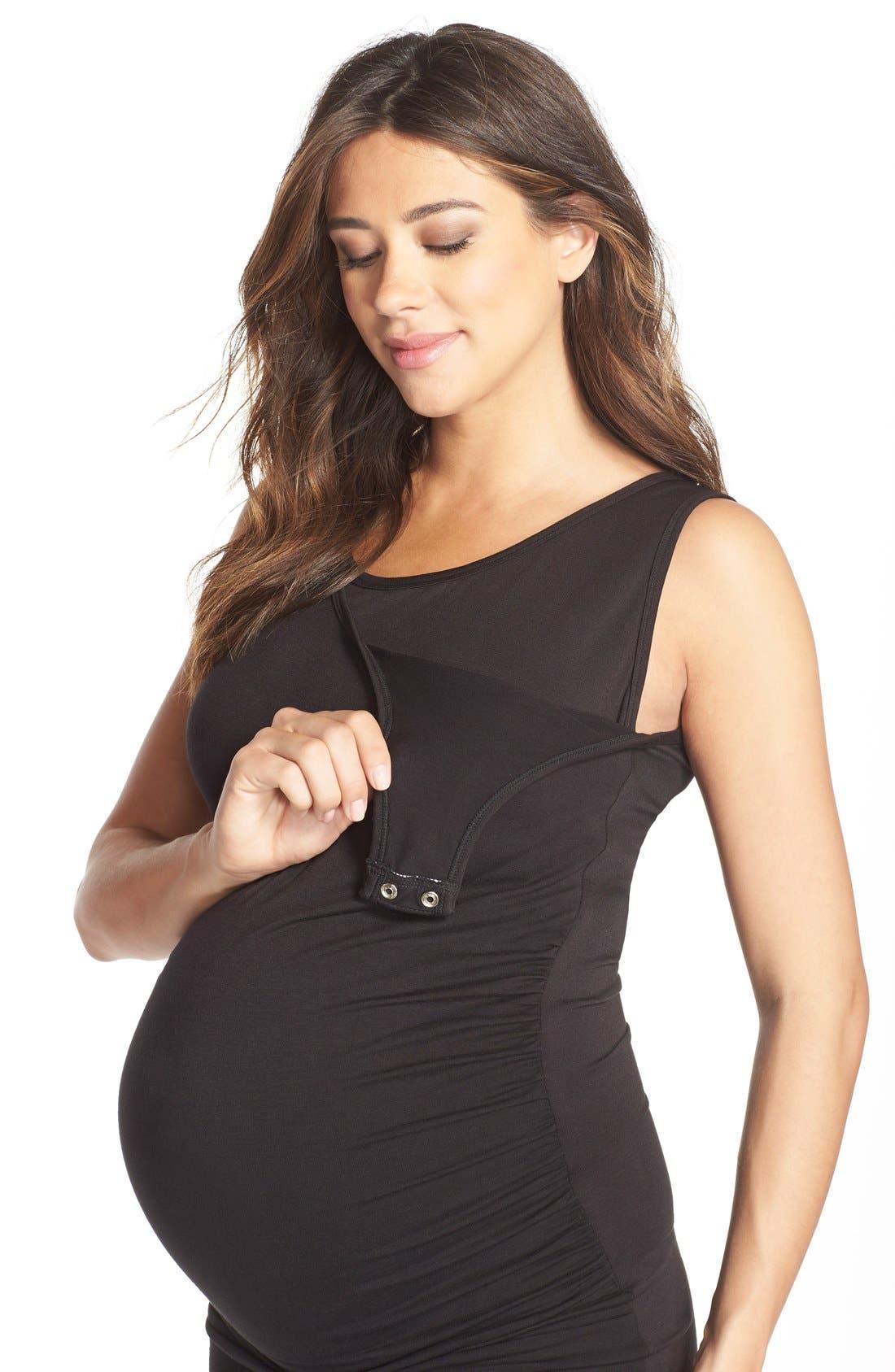Maternity/Nursing Tank Dress,                             Alternate thumbnail 7, color,                             001