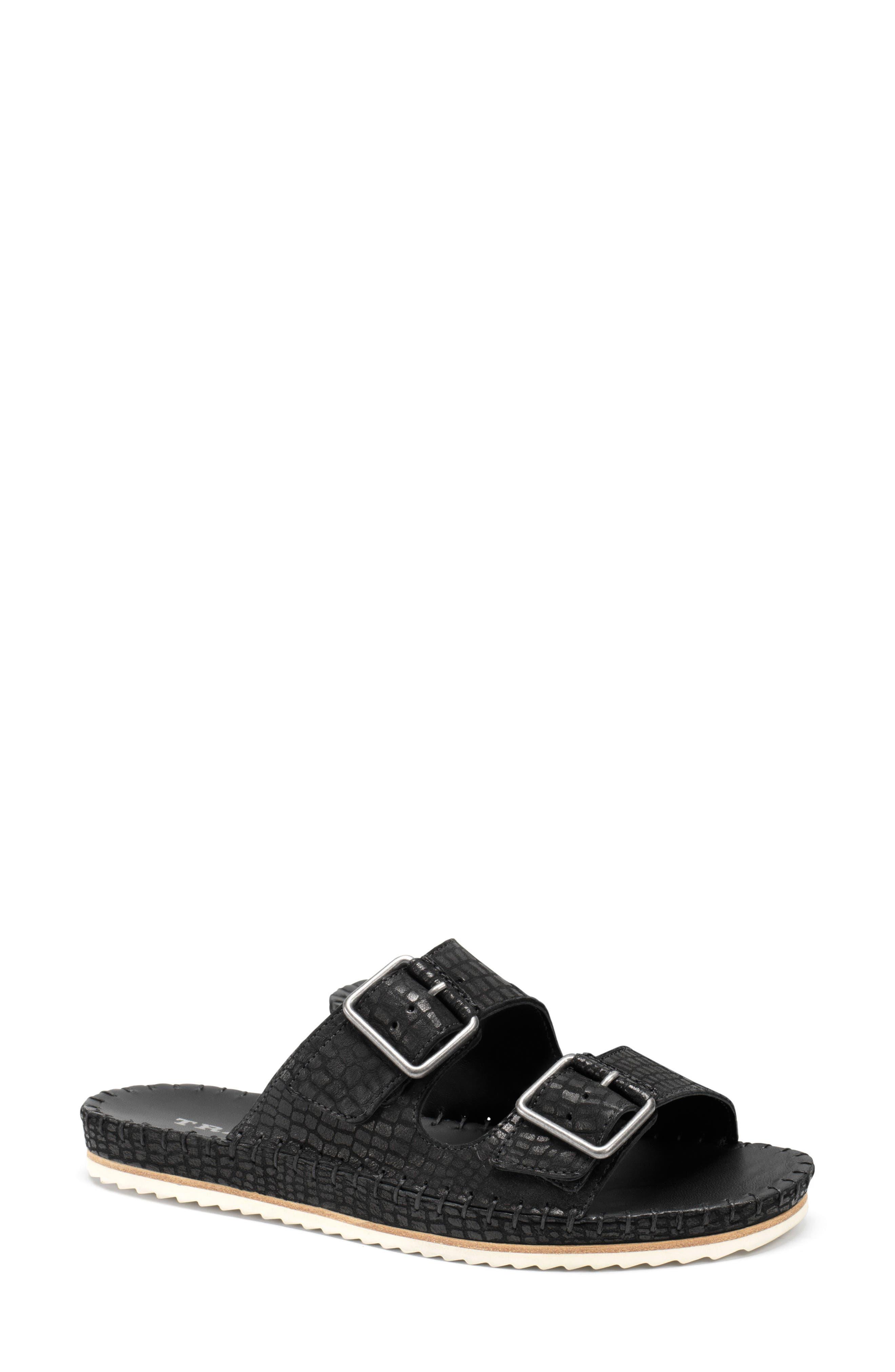 Carli Slide Sandal,                         Main,                         color, BLACK EMBOSSED LEATHER