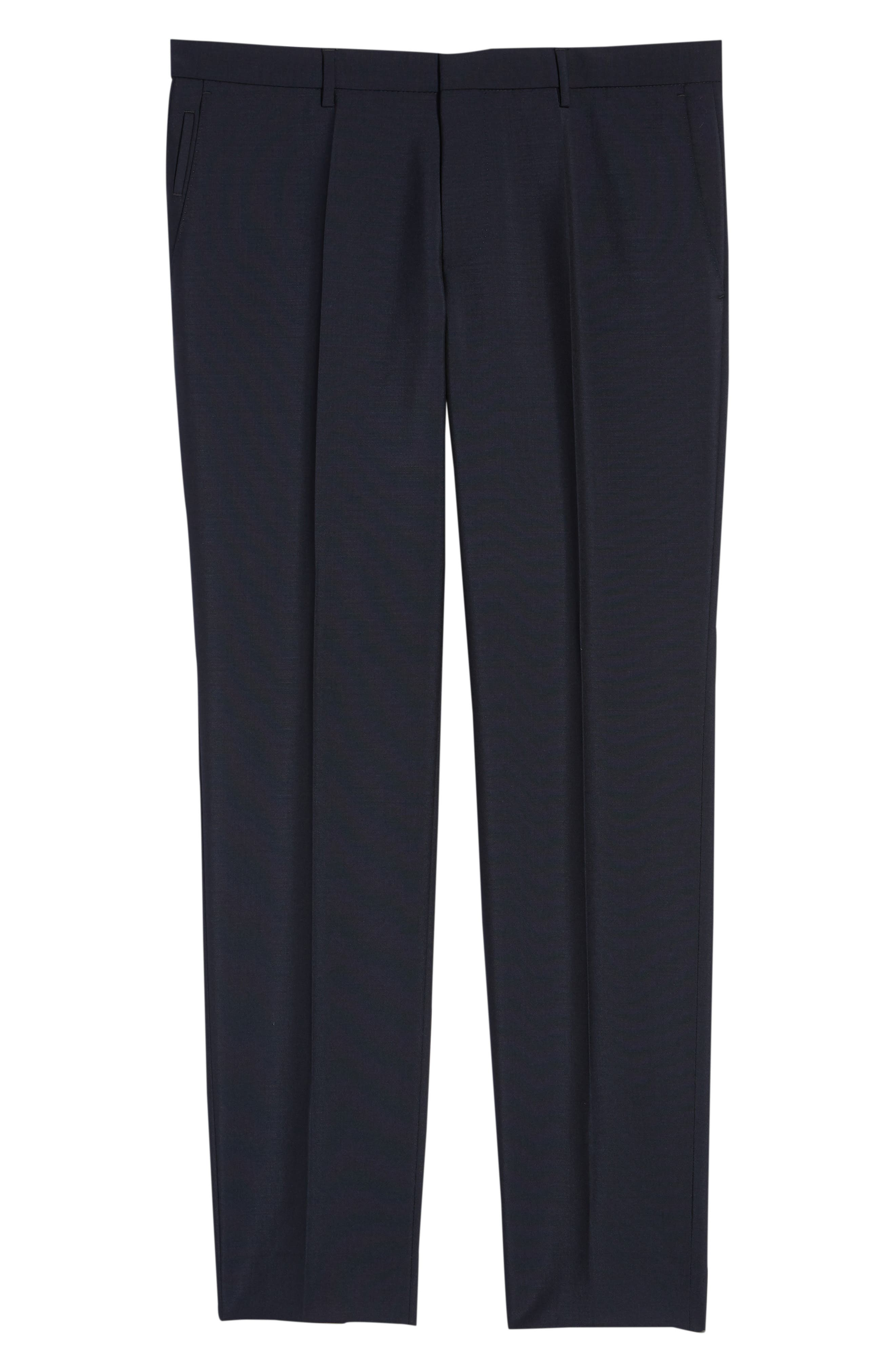 x Nordstrom Ben Flat Front Solid Wool & Mohair Trousers,                             Alternate thumbnail 6, color,                             DARK BLUE