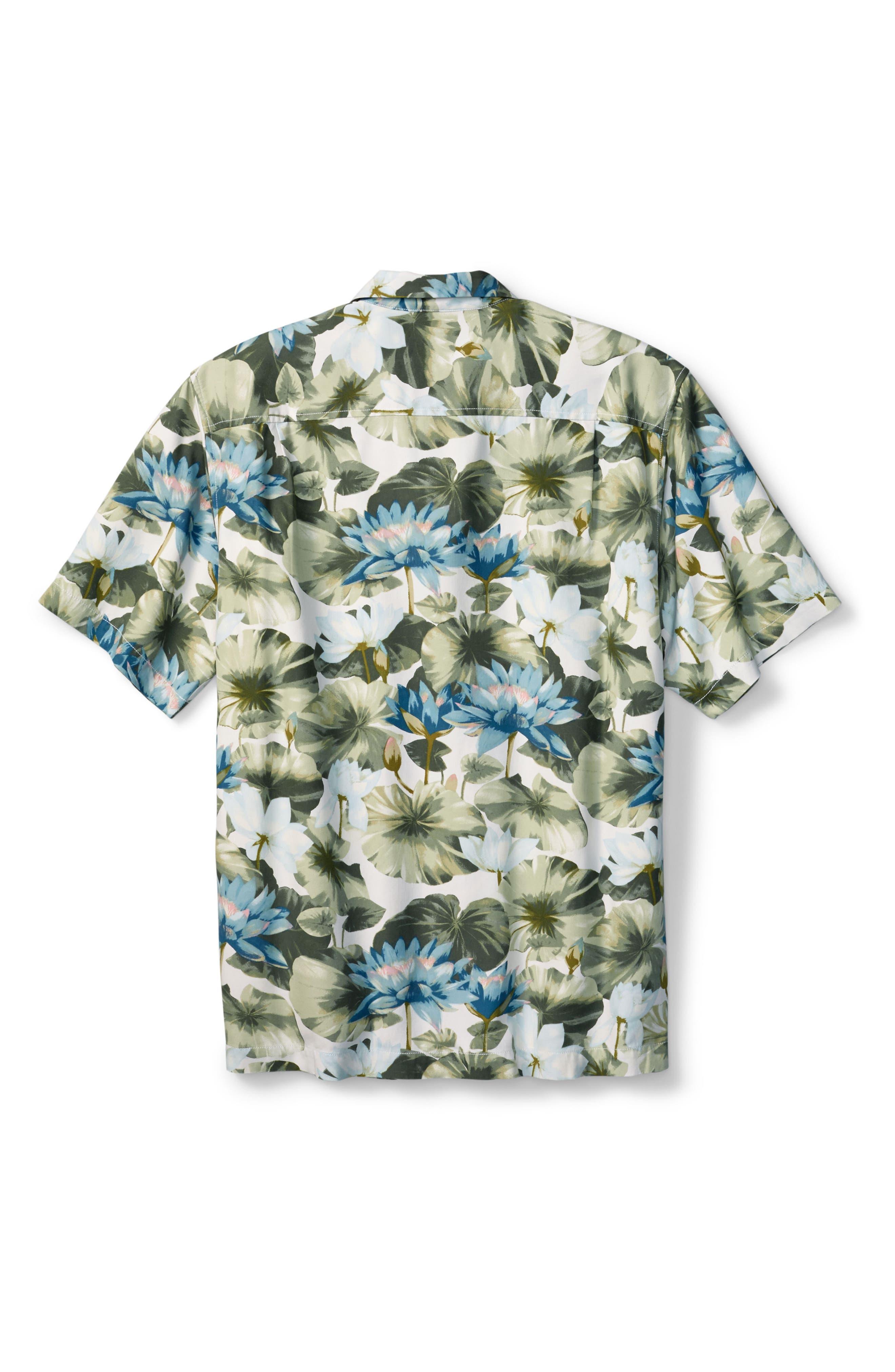 Lagoon Lotus Original Fit Silk Camp Shirt,                             Alternate thumbnail 7, color,                             100