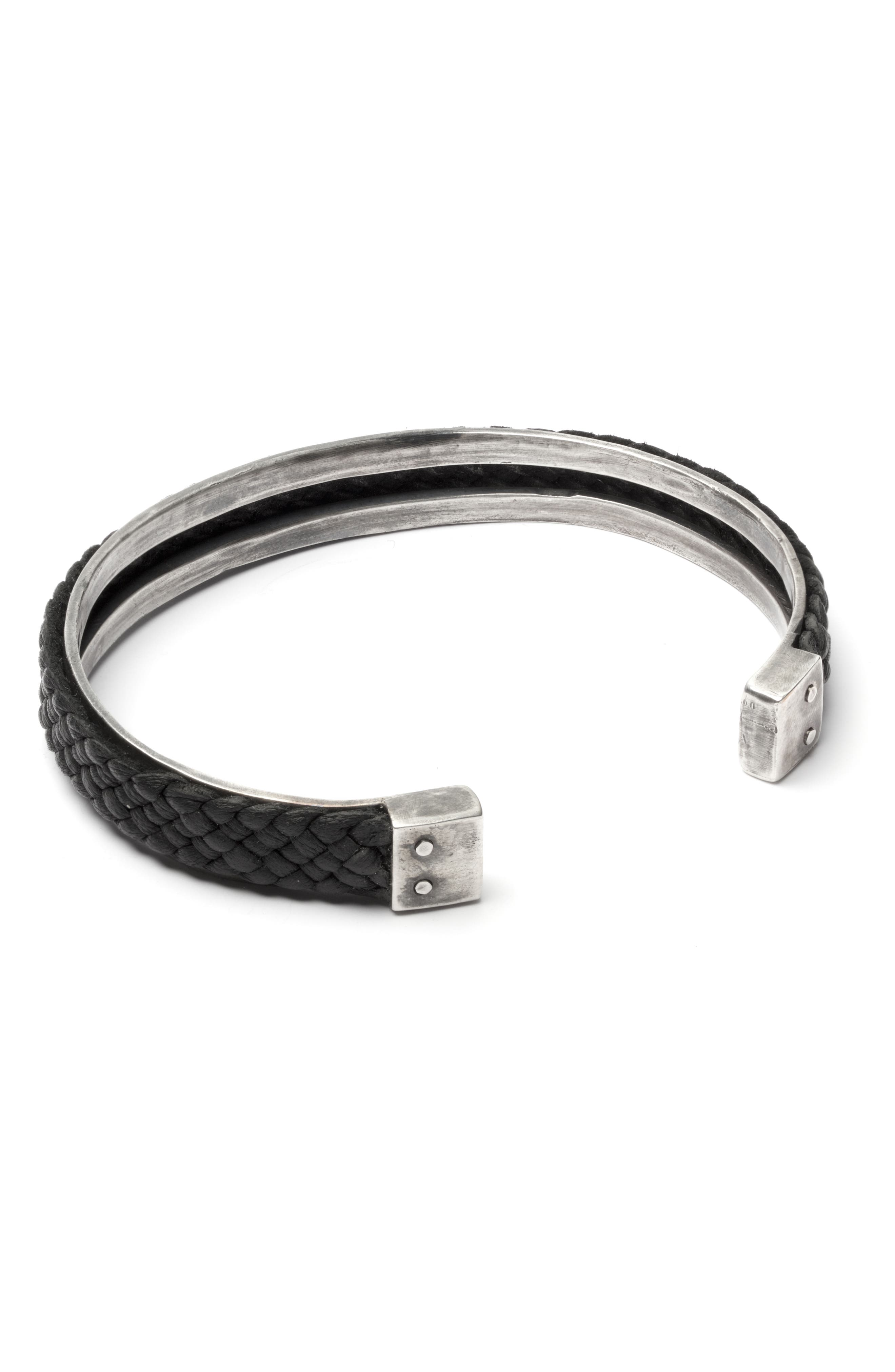 Braided Leather Cuff Bracelet,                             Alternate thumbnail 2, color,                             BLACK/SILVER