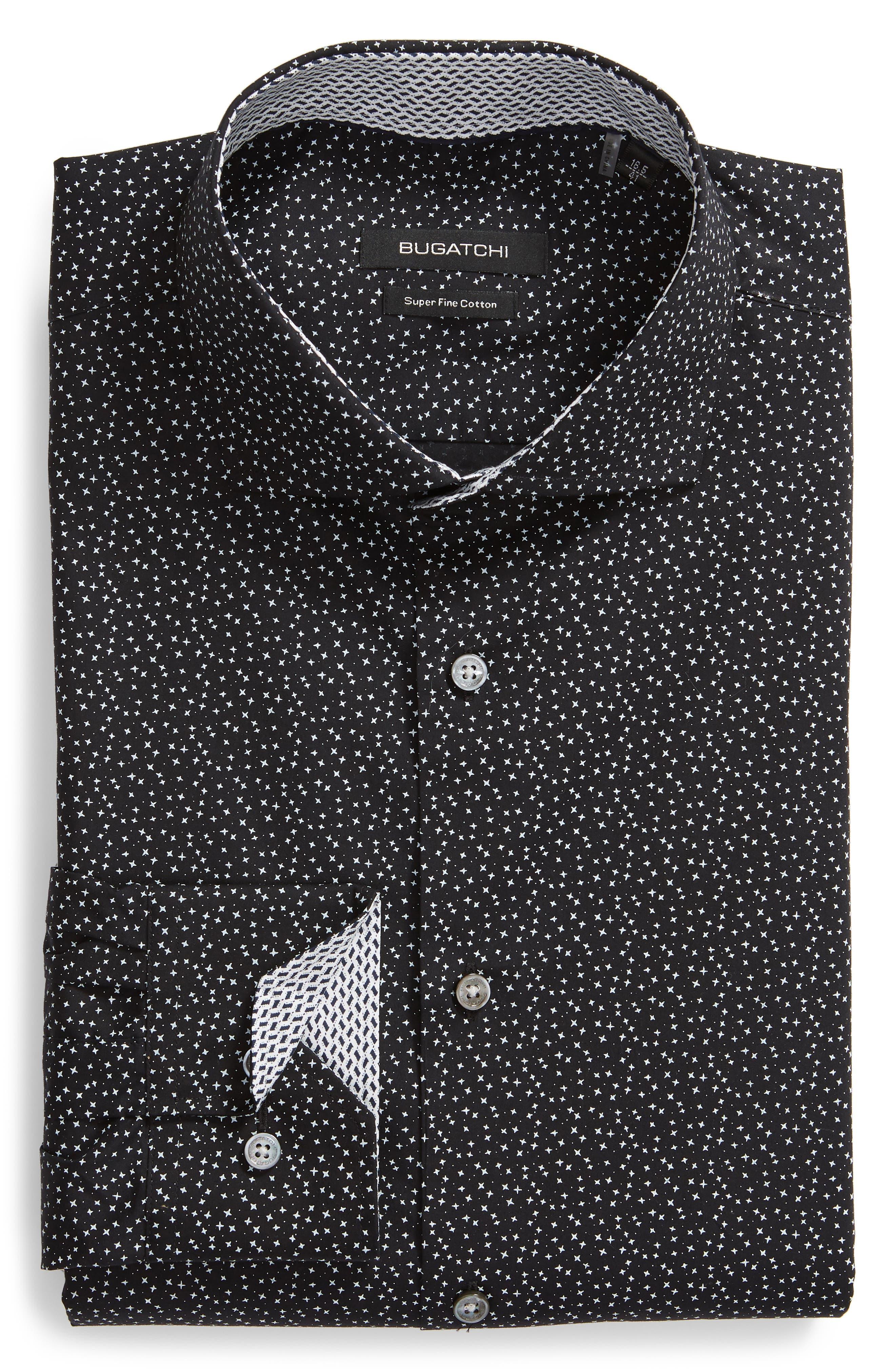 men's bugatchi trim fit star dot print dress shirt