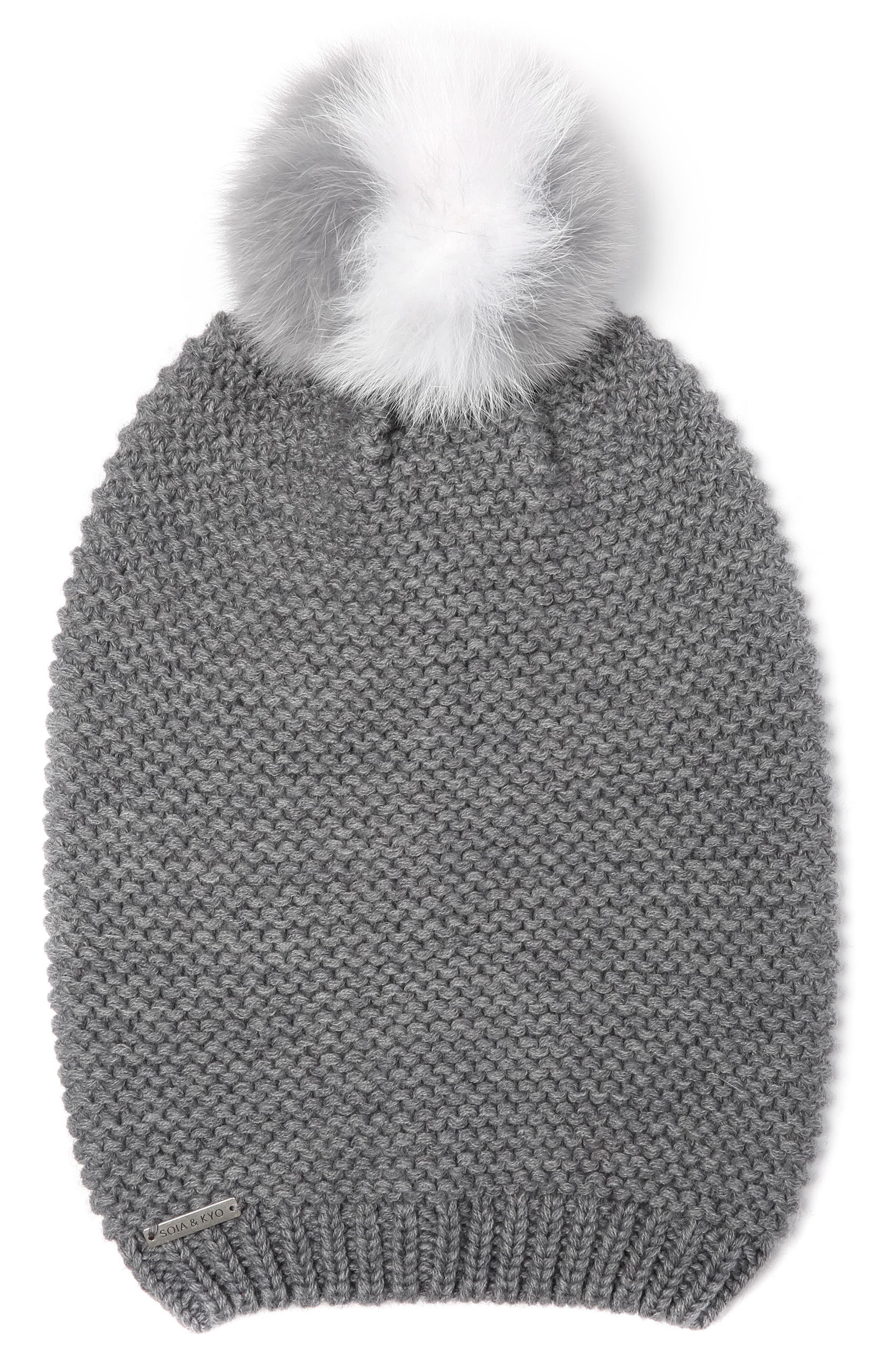 Slouchy Knit Beanie with Genuine Fox Fur Pompom,                         Main,                         color, 020