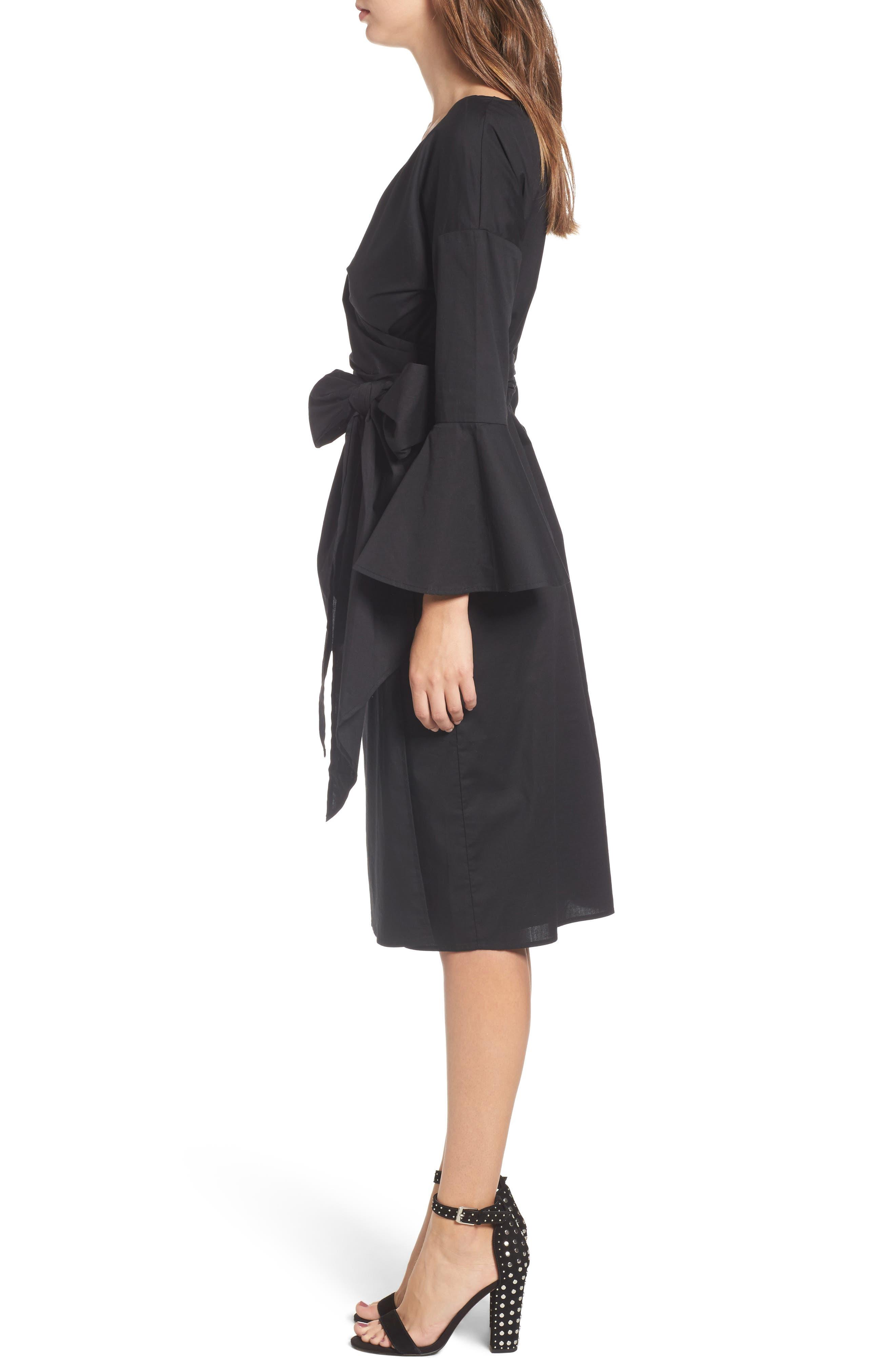 Wrap Bell Sleeve Dress,                             Alternate thumbnail 3, color,                             001