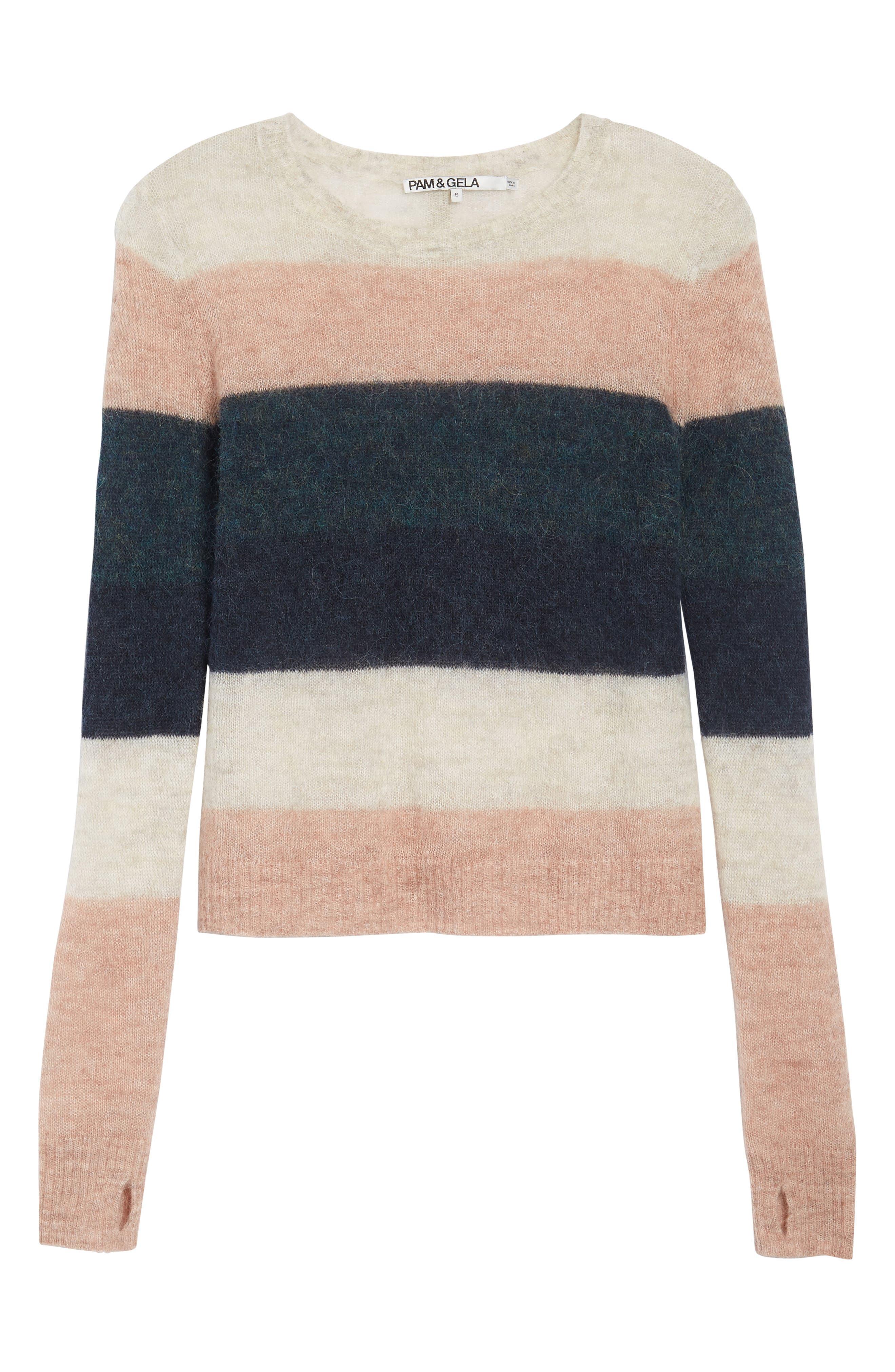 Stripe Alpaca Blend Sweater,                             Alternate thumbnail 11, color,