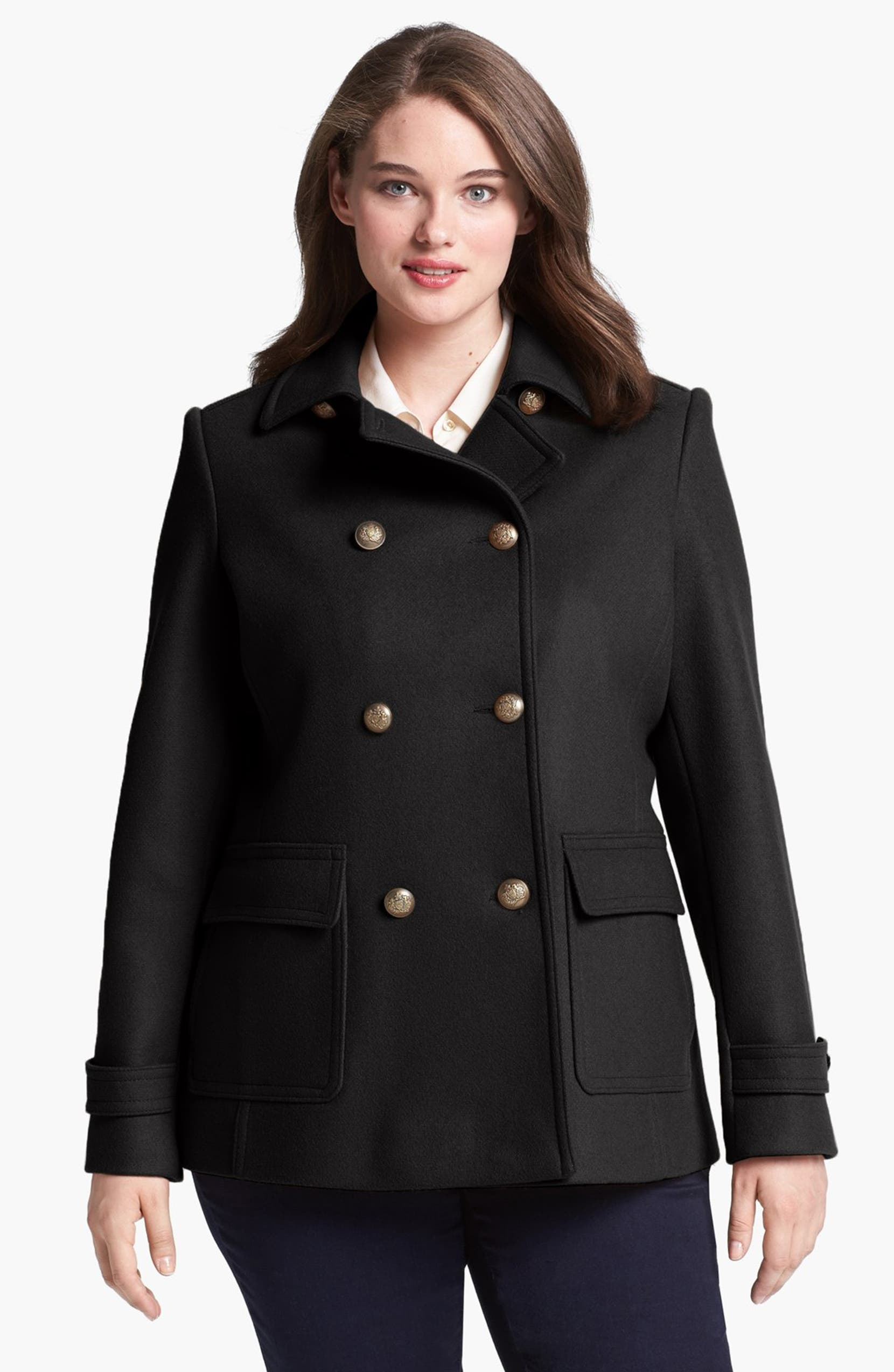 8fd8b1eafd184 Kristen Blake Skirt Back Peacoat (Plus Size)