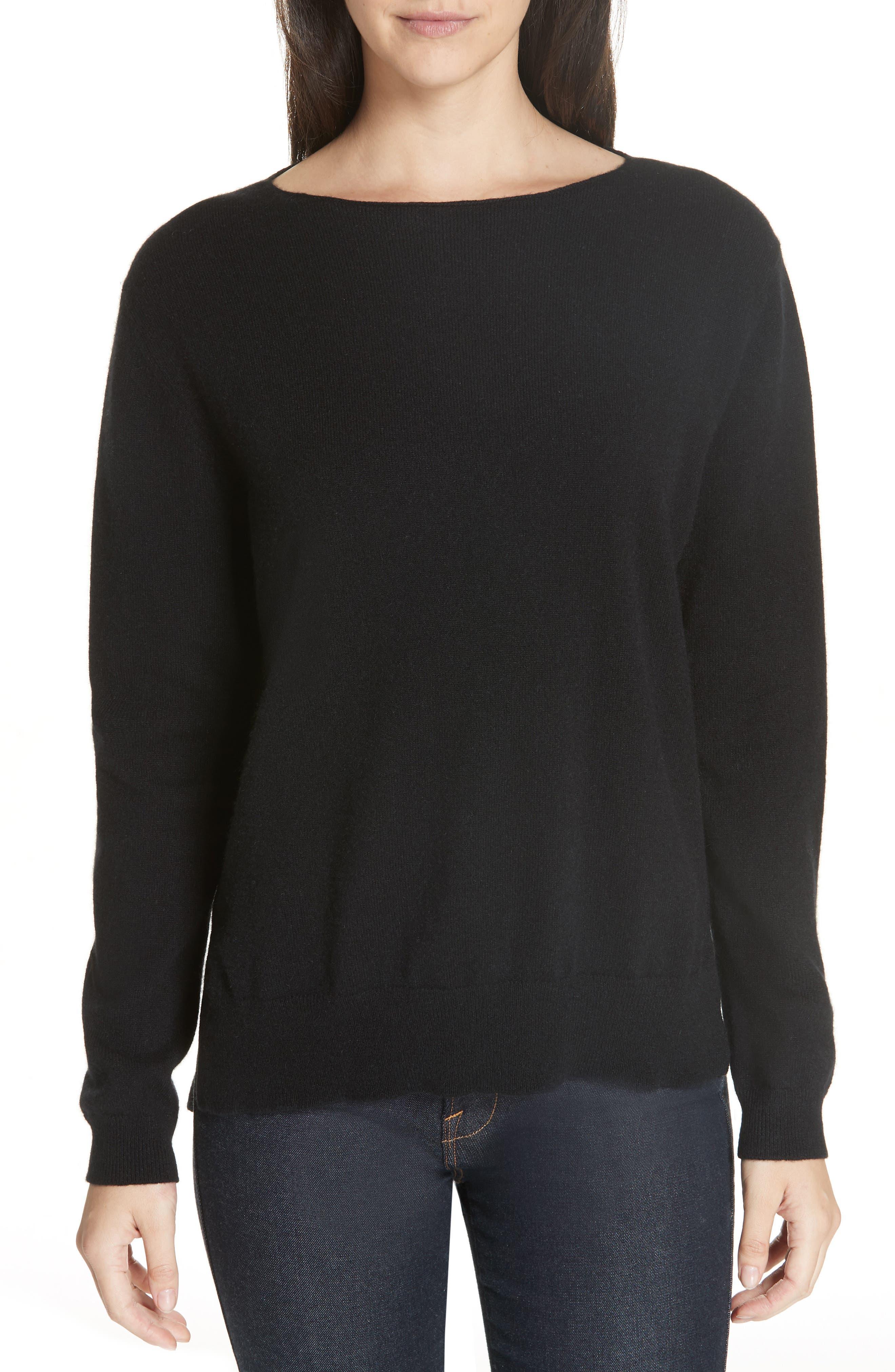 Crewneck Cashmere Sweater,                             Main thumbnail 1, color,                             BLACK