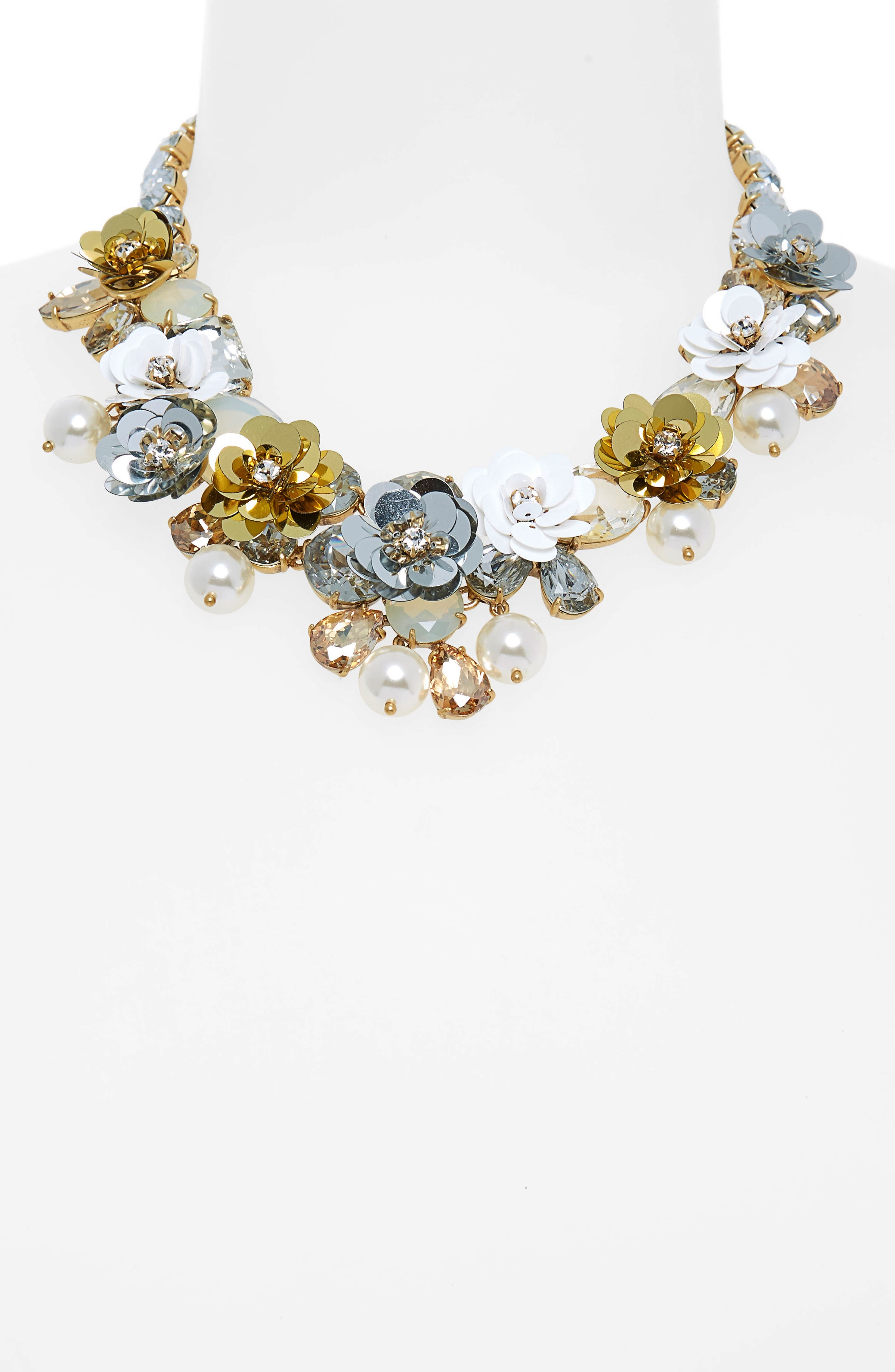 Crystal & Sequin Wreath Necklace,                             Alternate thumbnail 2, color,                             CRYSTAL