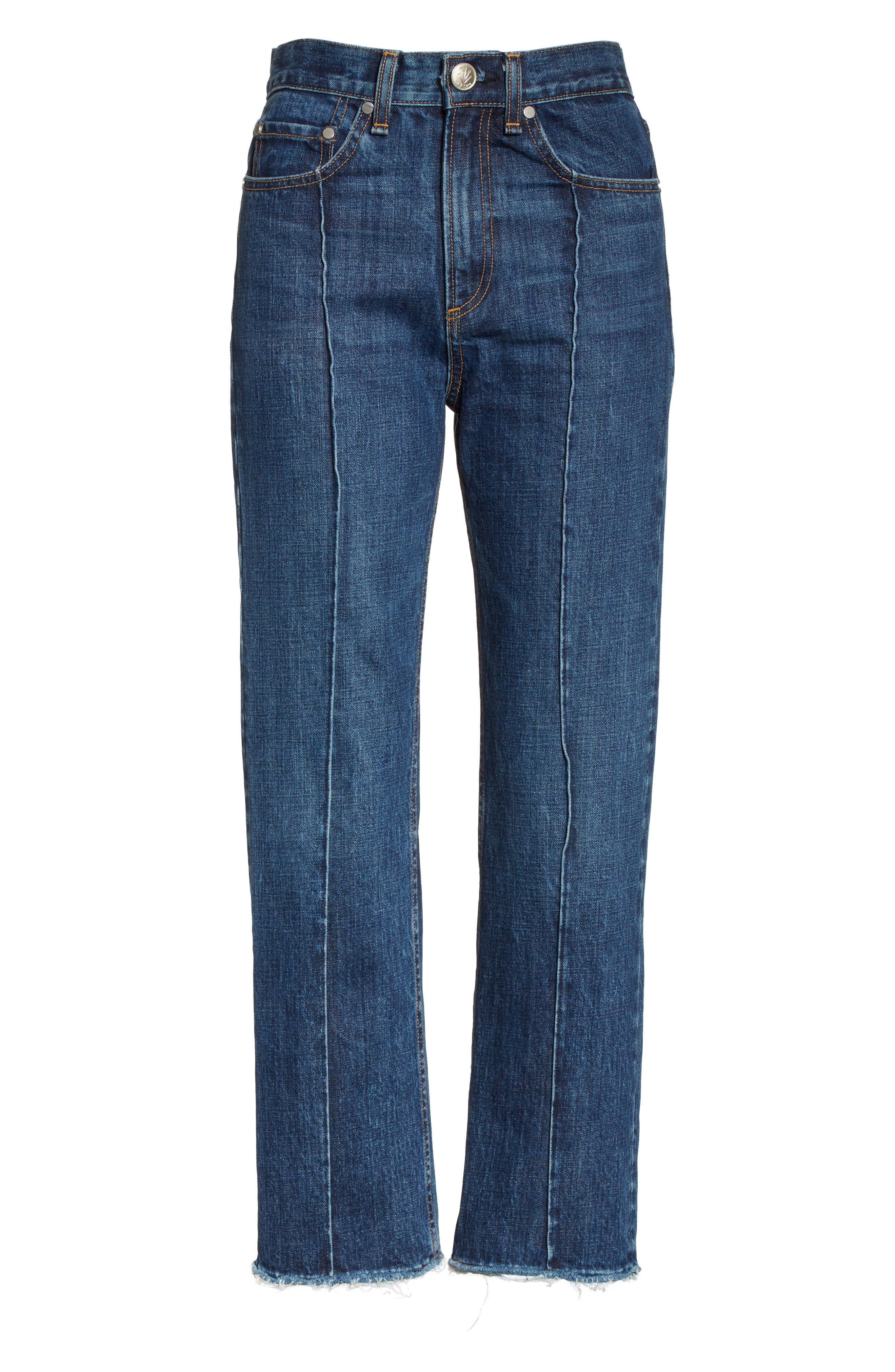 High Waist Ankle Straight Leg Jeans,                             Alternate thumbnail 6, color,                             418