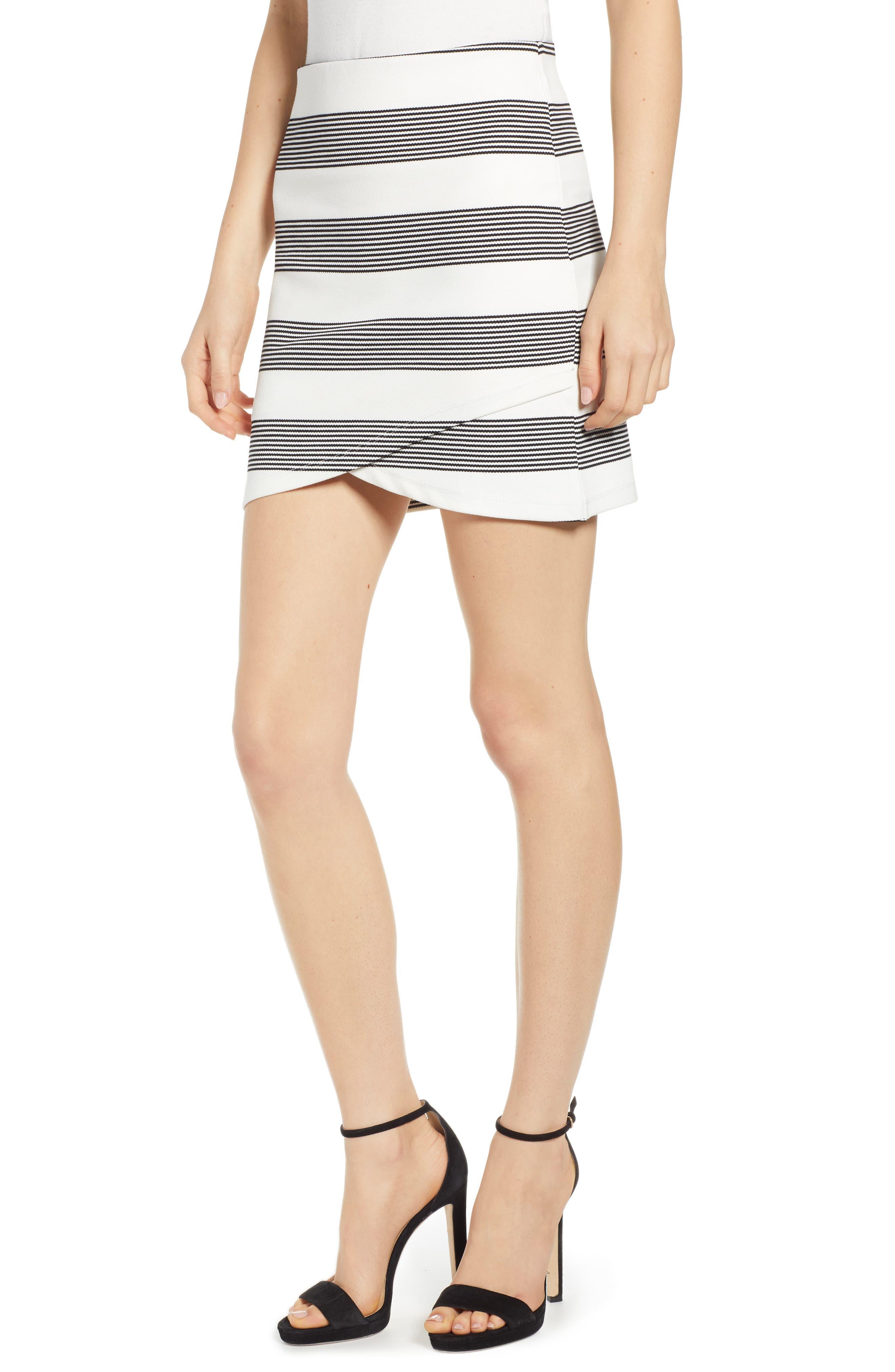 Bishop + Young Stripe Miniskirt, Black