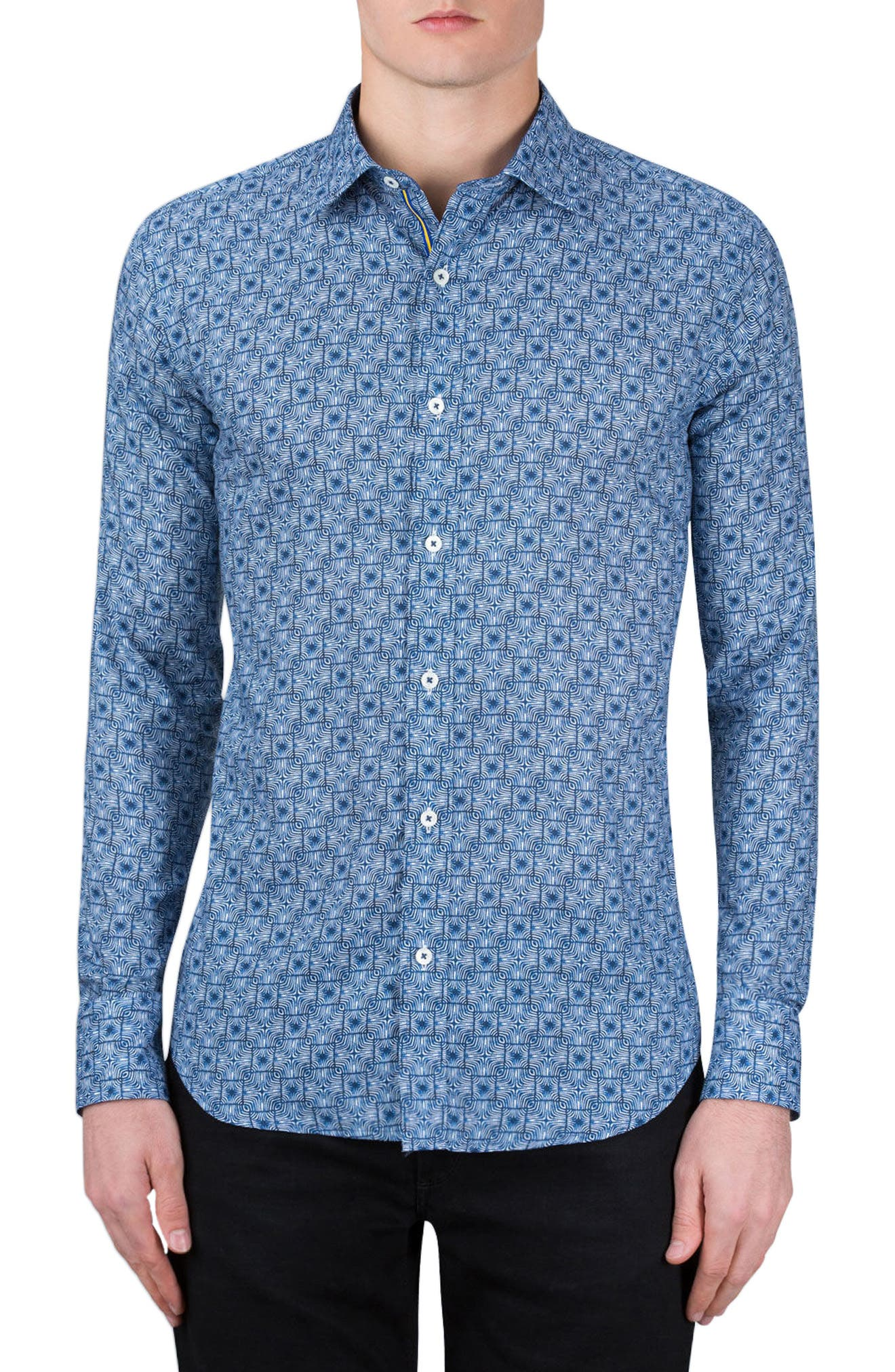 Shaped Fit Print Sport Shirt,                         Main,                         color, 408