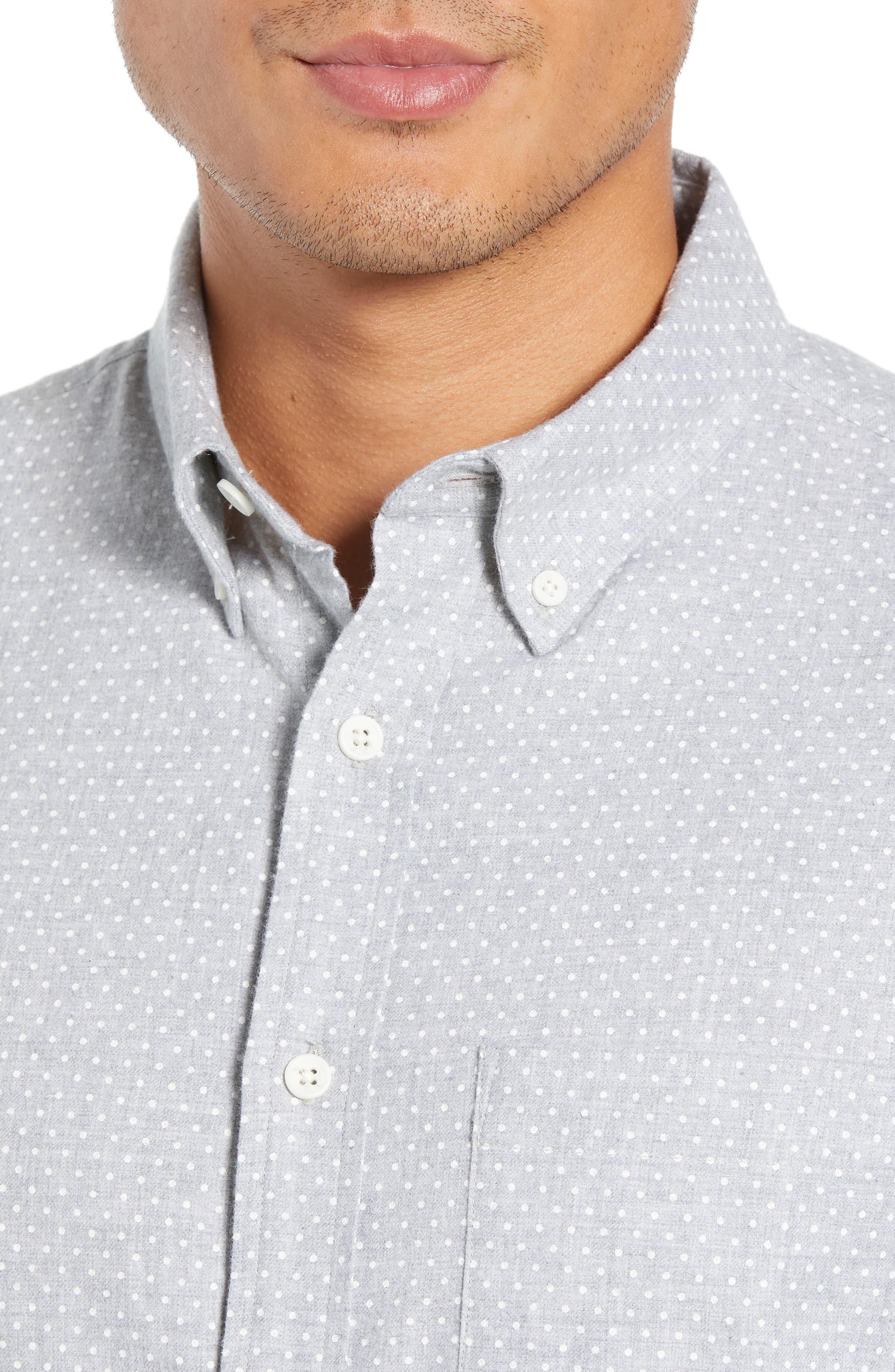 Polka Dot Cotton Flannel Sport Shirt,                             Alternate thumbnail 2, color,                             030