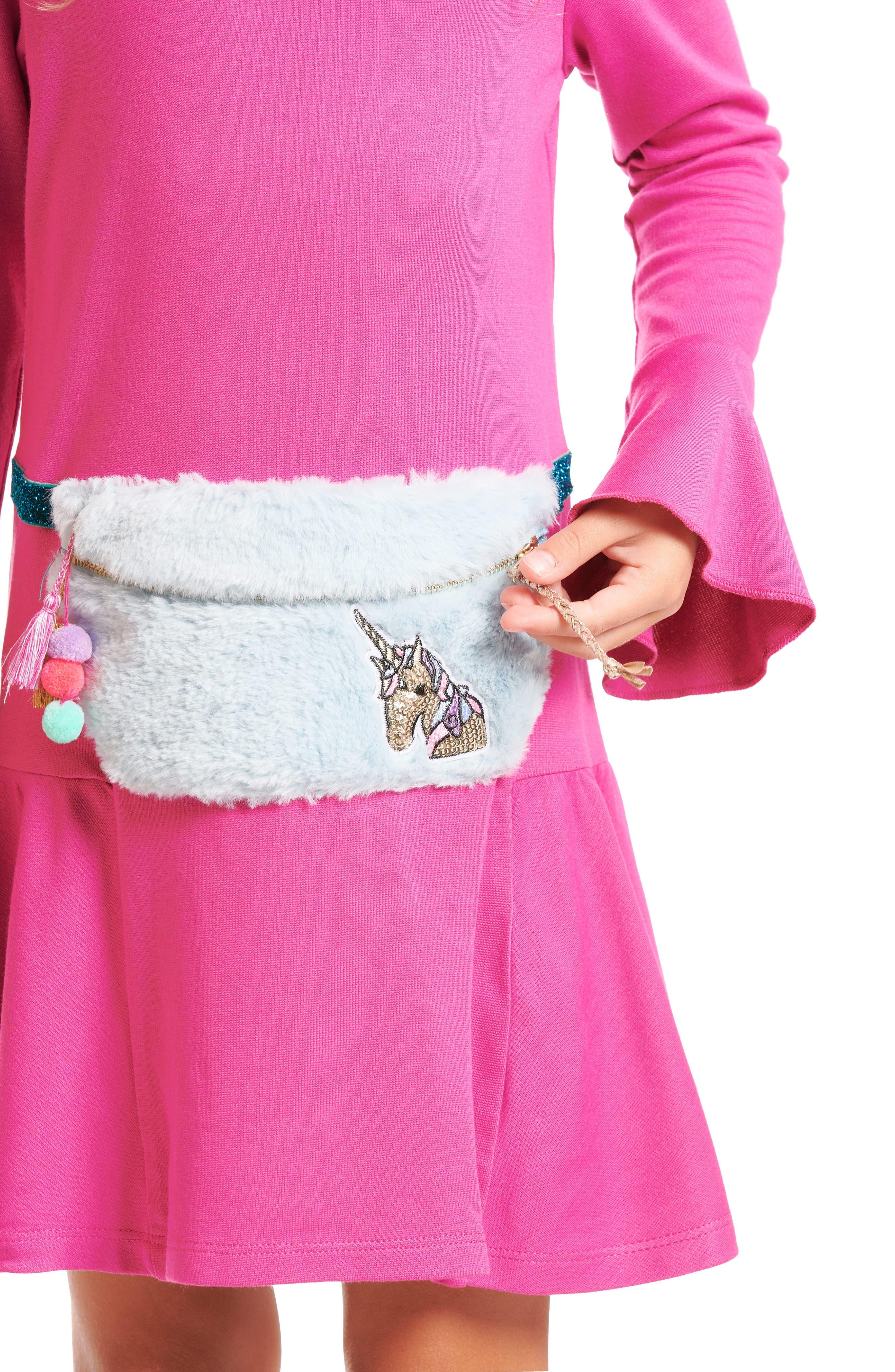 Knit Dress with Faux Fur Pouch,                             Alternate thumbnail 5, color,                             FUSCHIA