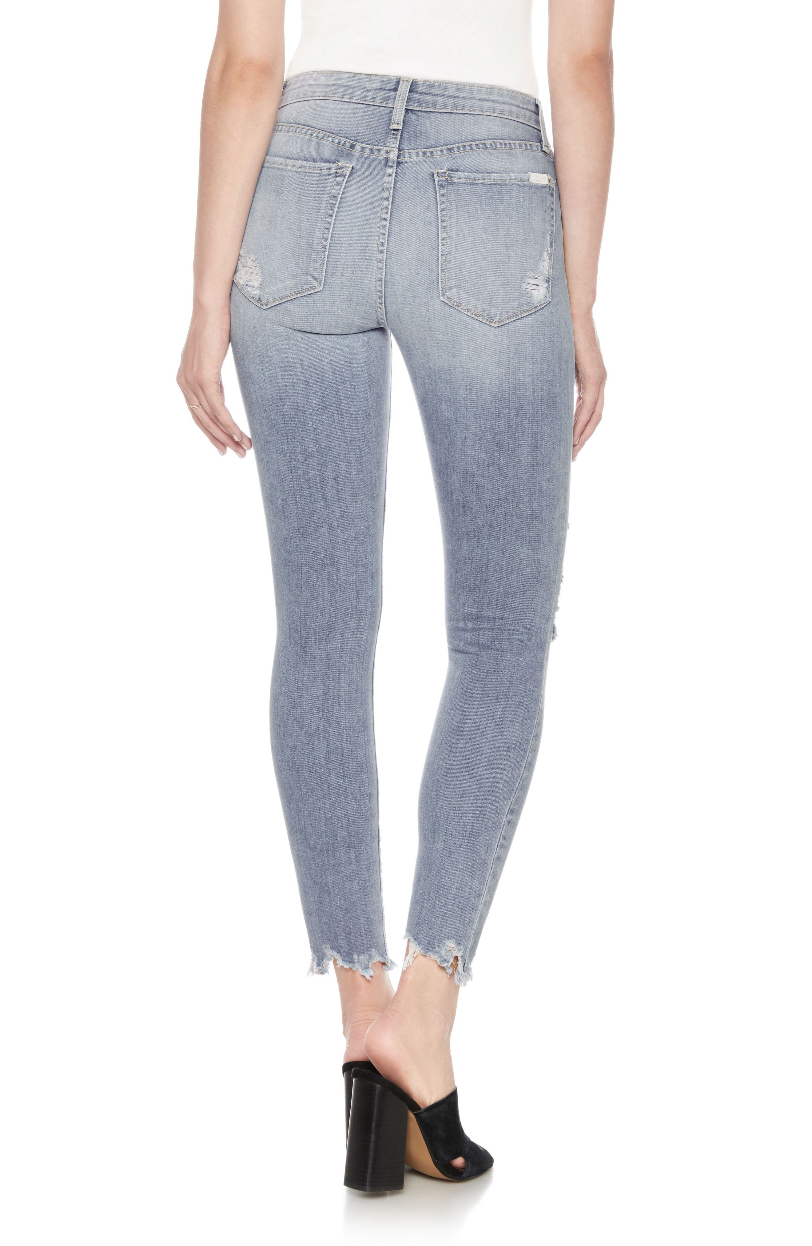 The Charlie High Waist Ripped Ankle Skinny Jeans,                             Alternate thumbnail 2, color,
