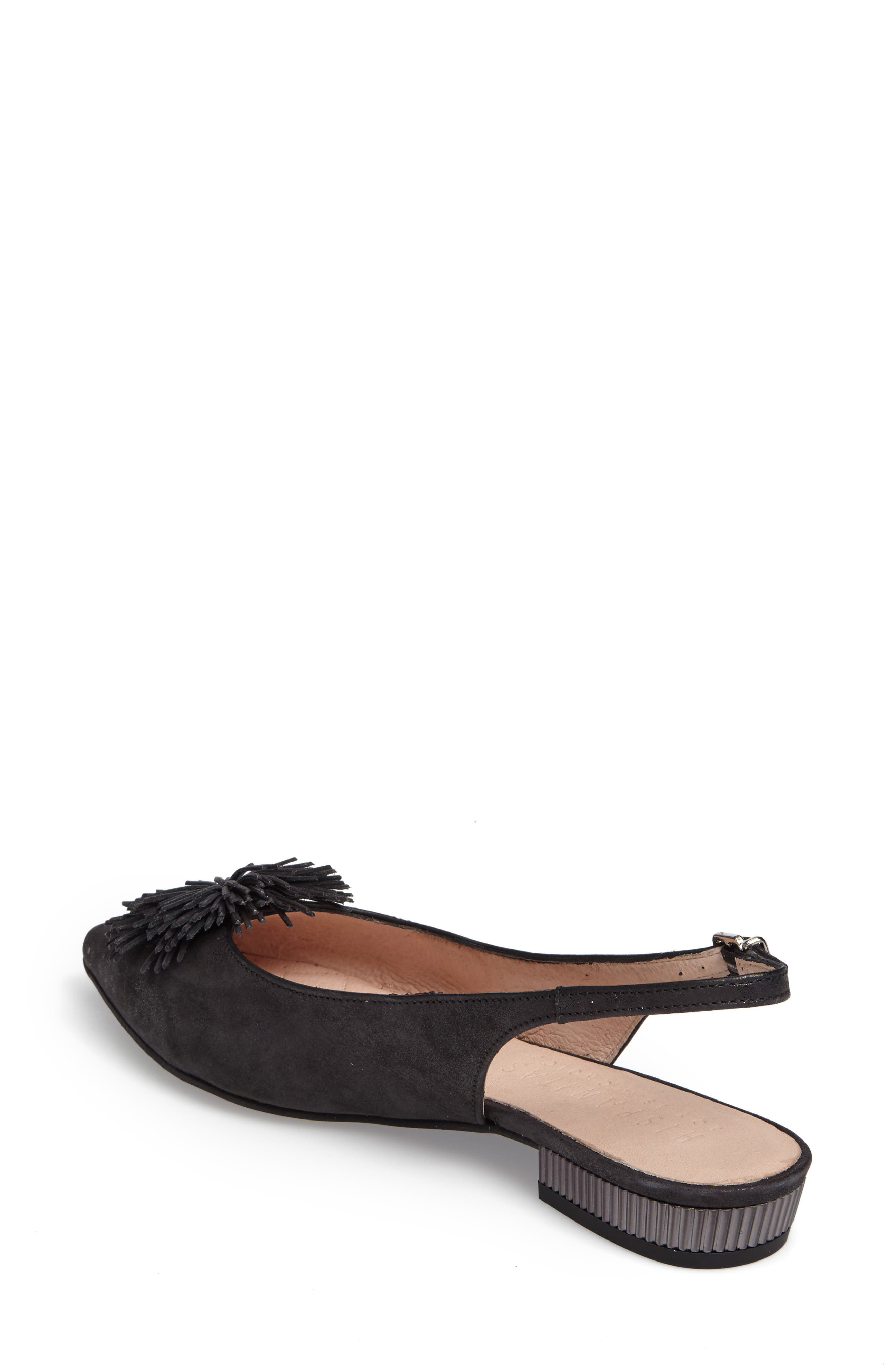 'Faylynn' Fringe Flower Slingback,                             Alternate thumbnail 2, color,                             MAGIC BLACK LEATHER