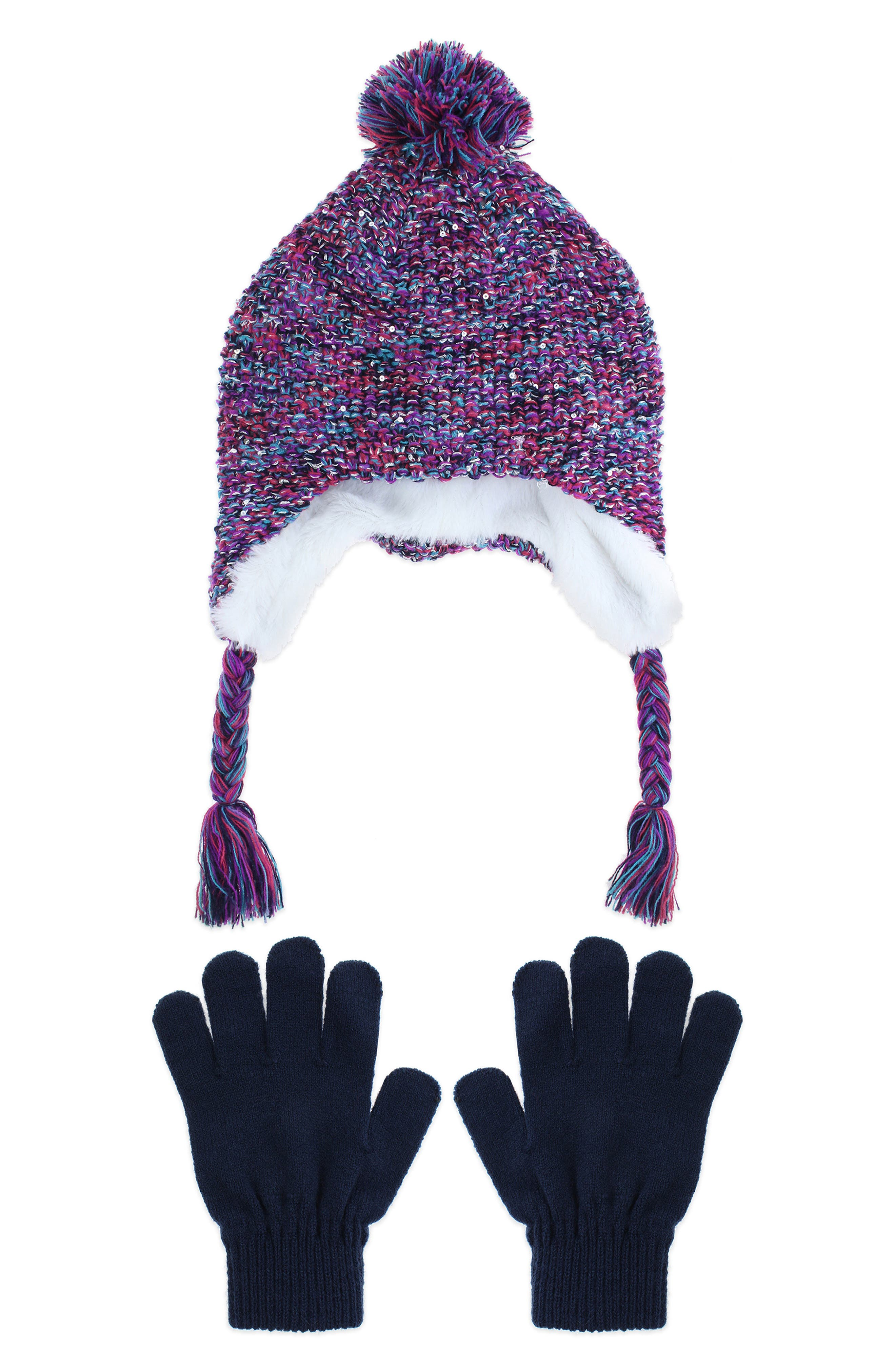 Space Dyed Earflap Hat & Gloves Set, Main, color, NAVY COMBO