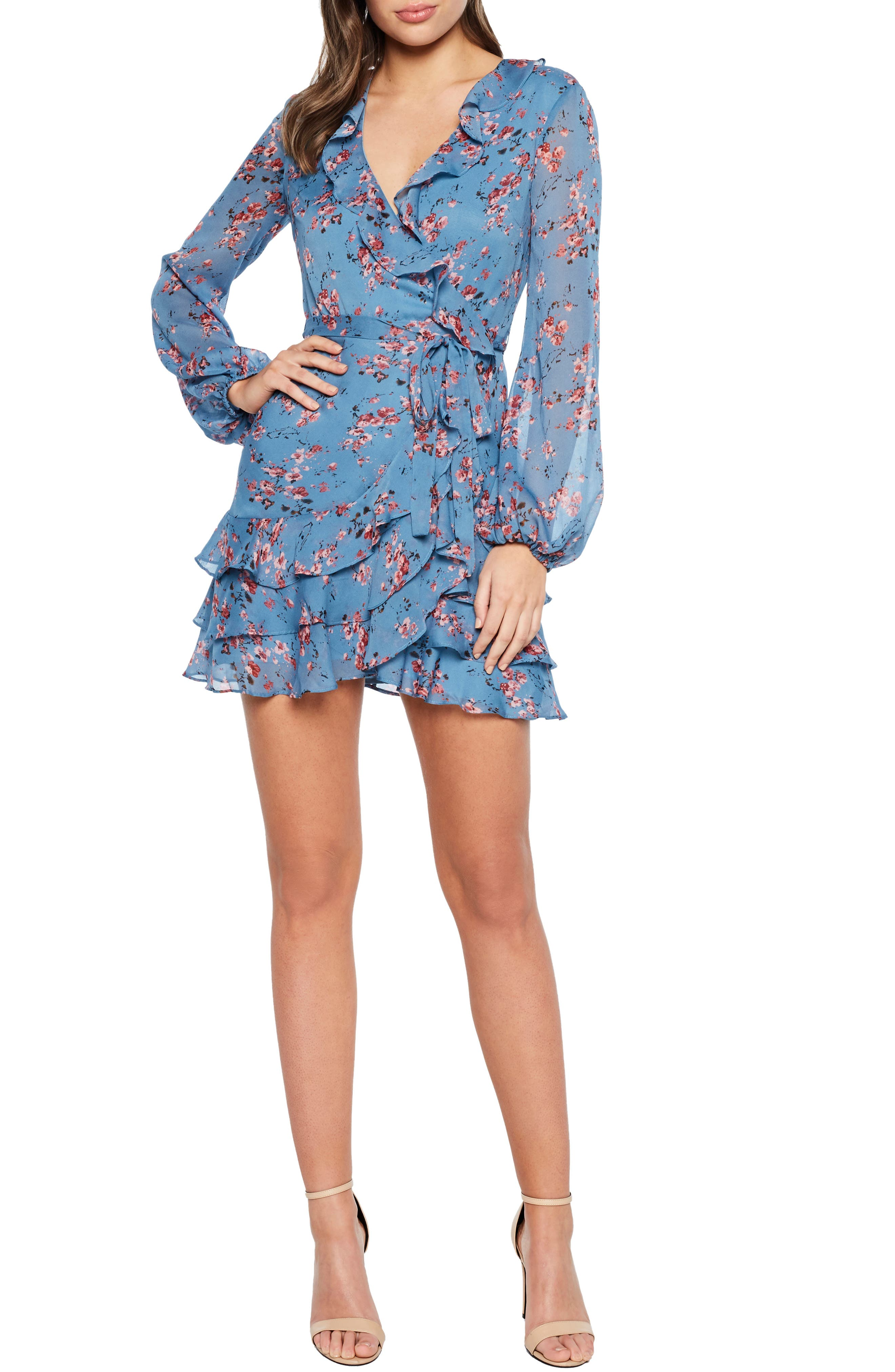 Bardot Blue Rose Faux Wrap Dress