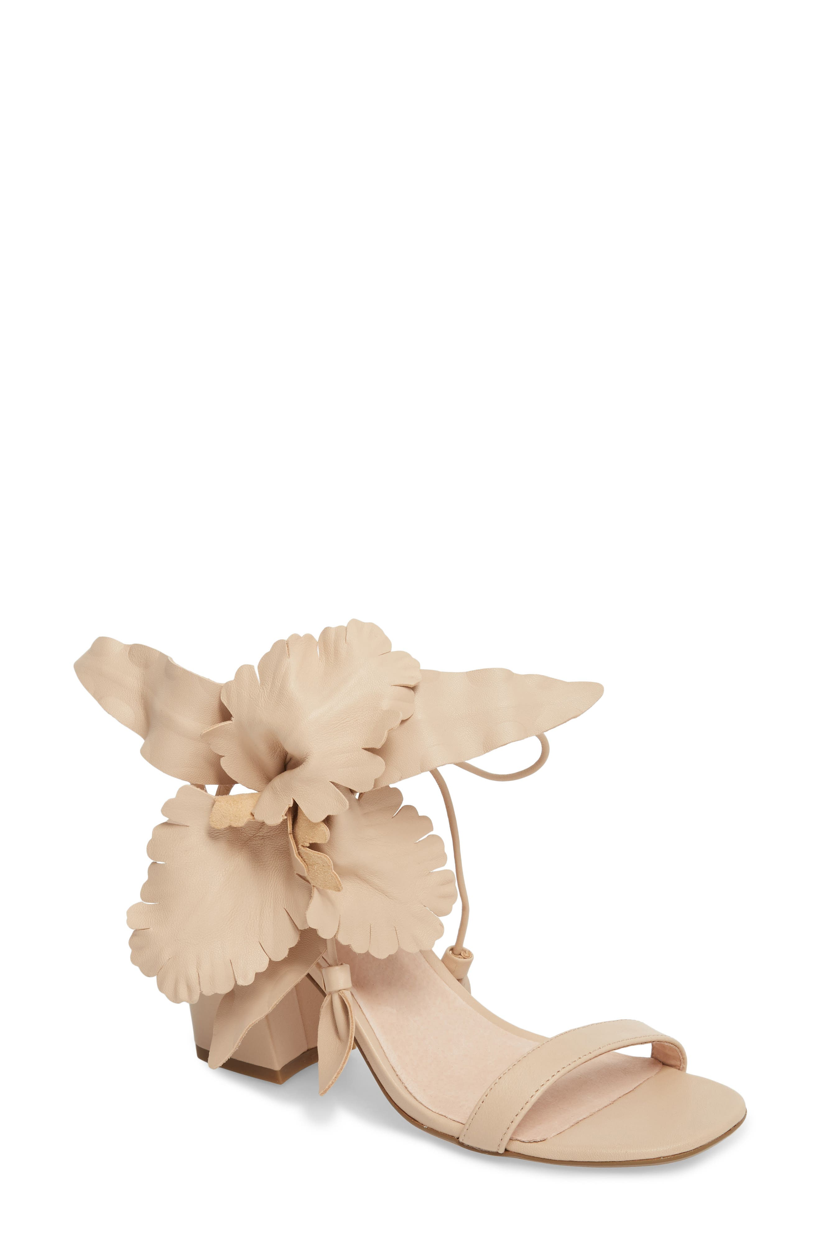 Hibiscus Sandal,                             Main thumbnail 1, color,                             NUDE LEATHER
