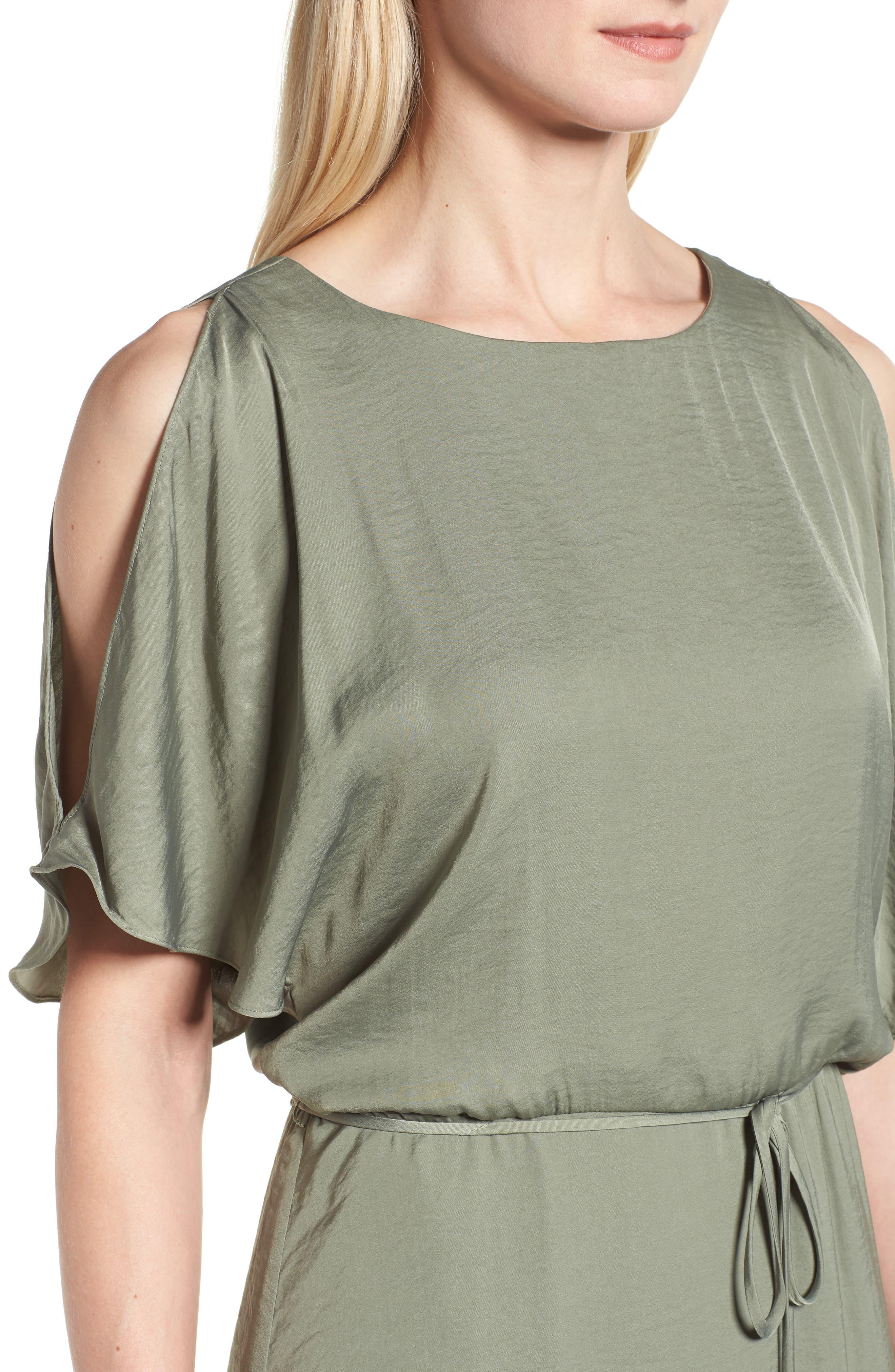 Cold Shoulder Rumpled Satin Dress,                             Alternate thumbnail 4, color,                             304