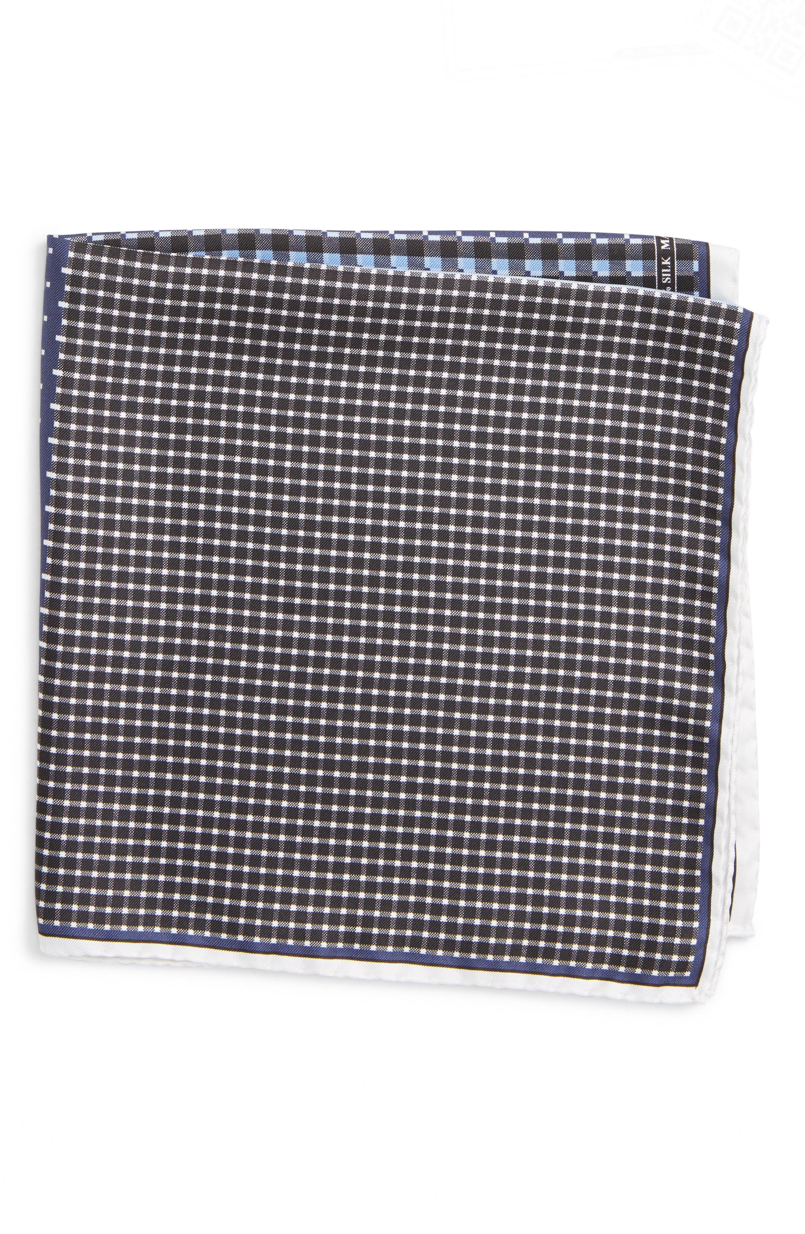 Four Panel Silk Pocket Square,                             Main thumbnail 1, color,                             BLACK/ BLUE