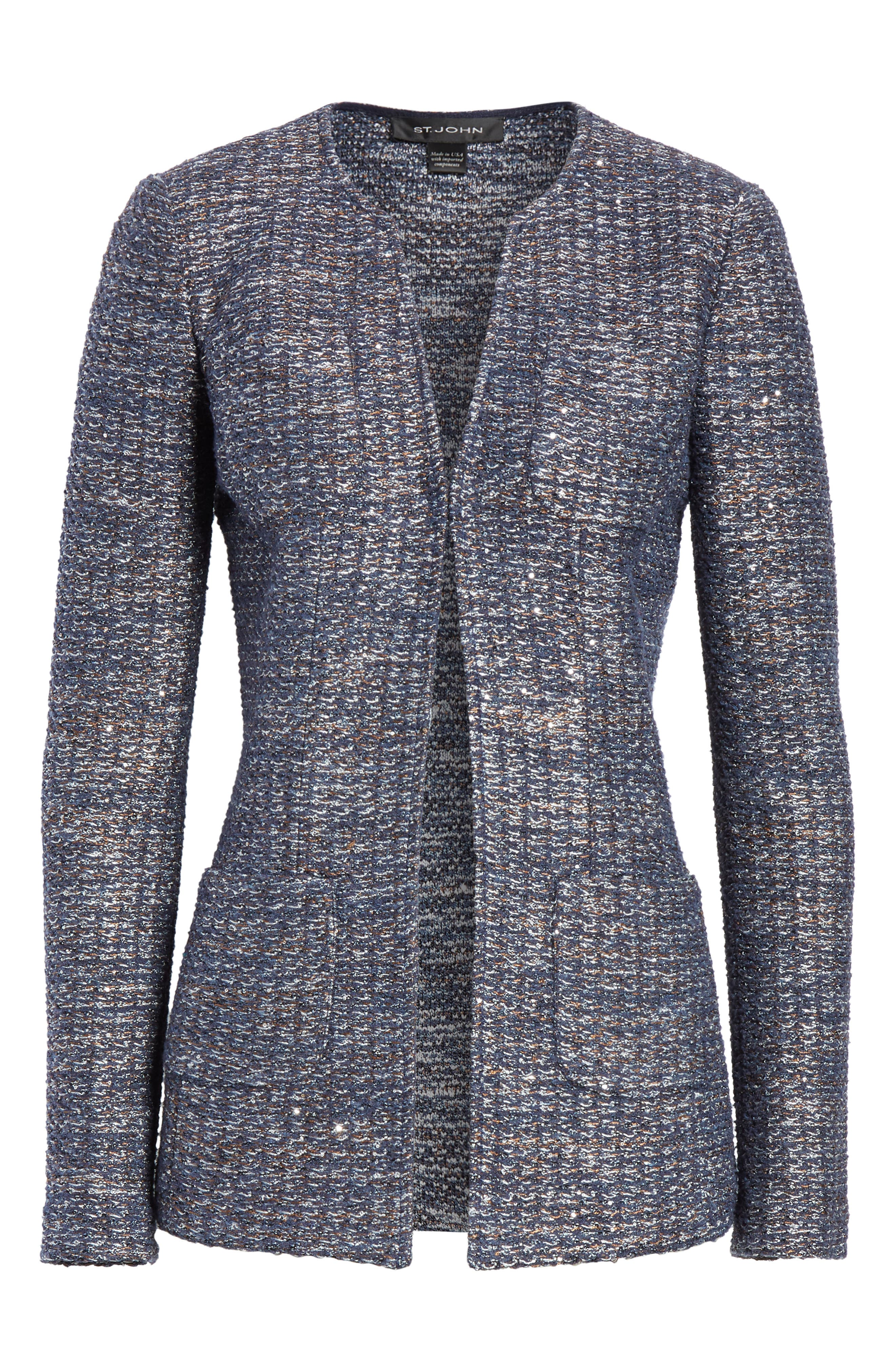 Copper Sequin Tweed Knit Jacket,                             Alternate thumbnail 5, color,                             410