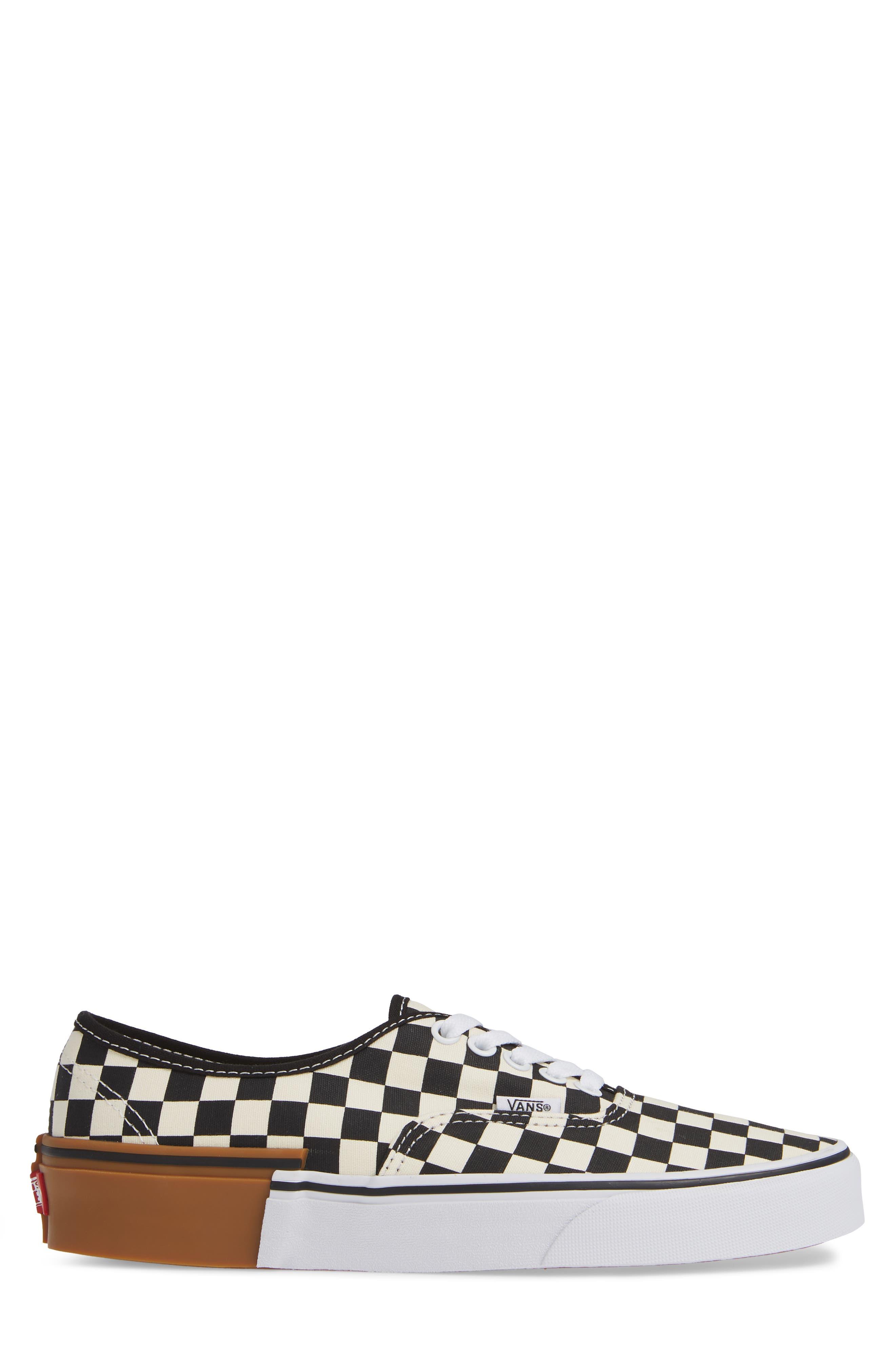 Authentic Gum Block Sneaker,                             Alternate thumbnail 3, color,                             CHECKERBOARD BLOCK CANVAS