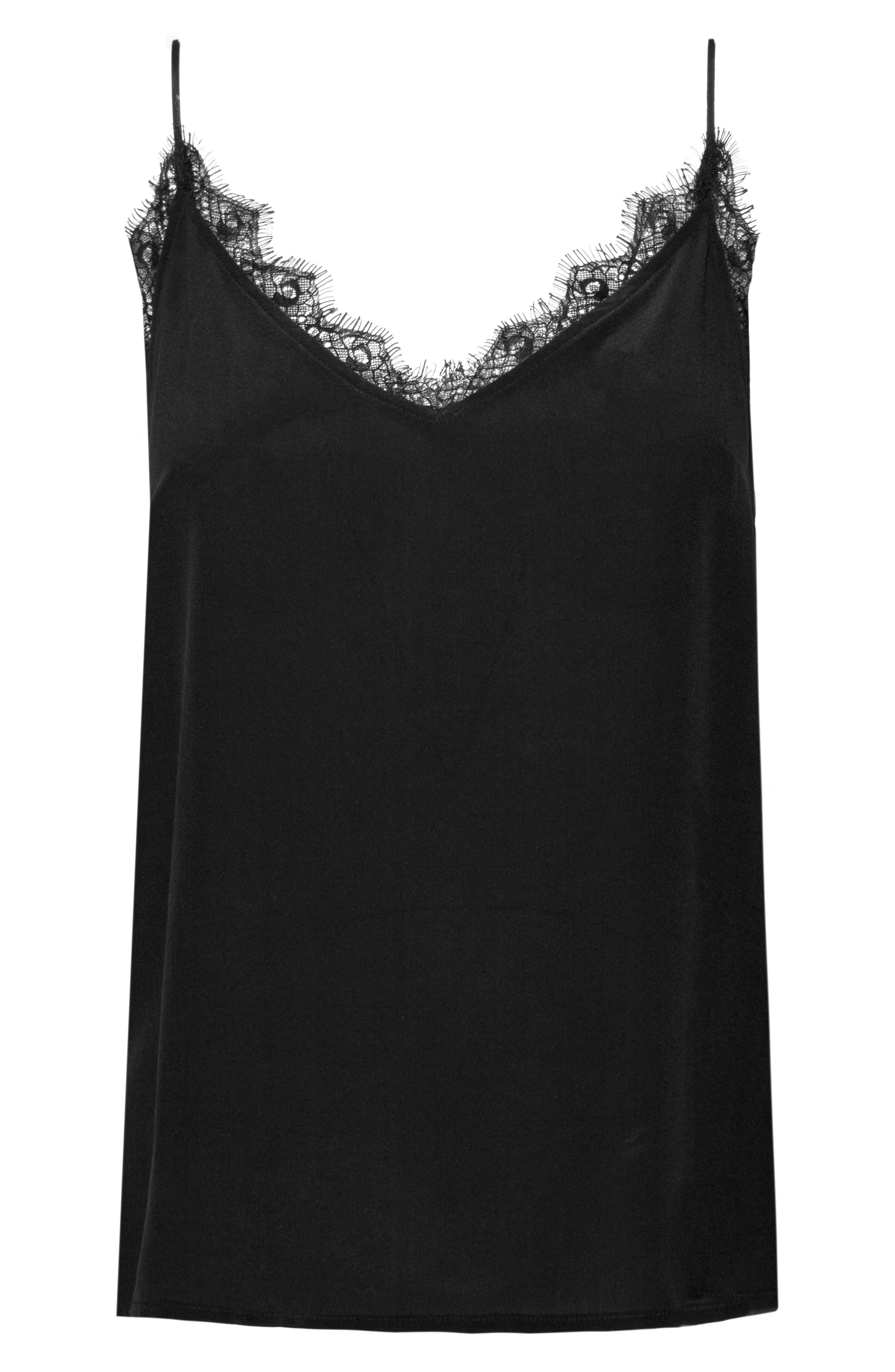 ANINE BING,                             Lace Trim Silk Camisole,                             Alternate thumbnail 4, color,                             BLACK