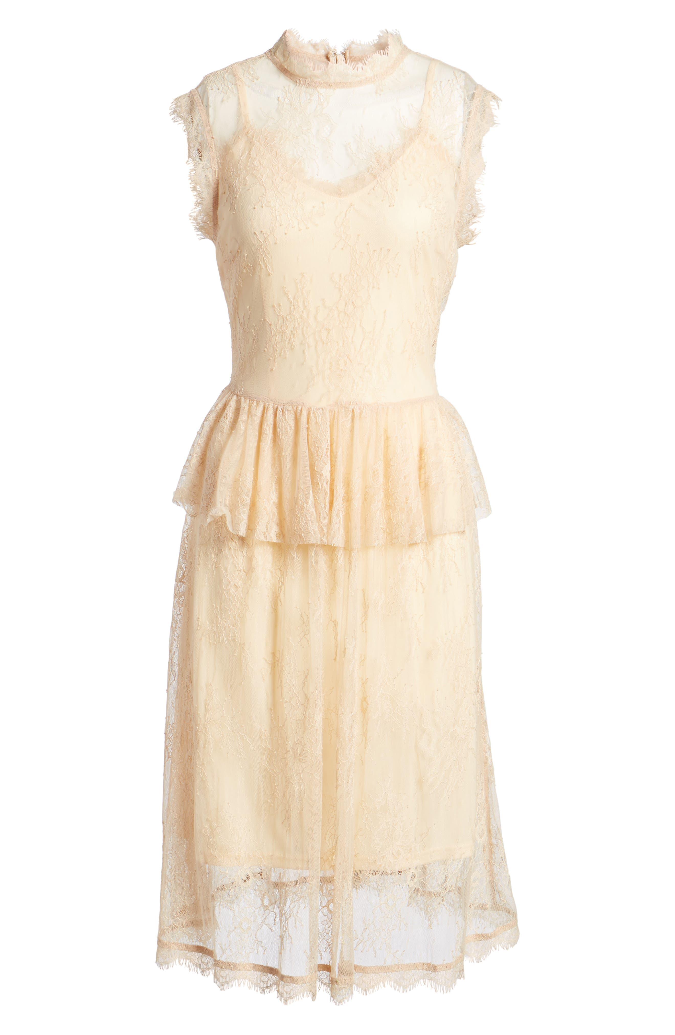 Lace Fit & Flare Dress,                             Alternate thumbnail 6, color,                             250