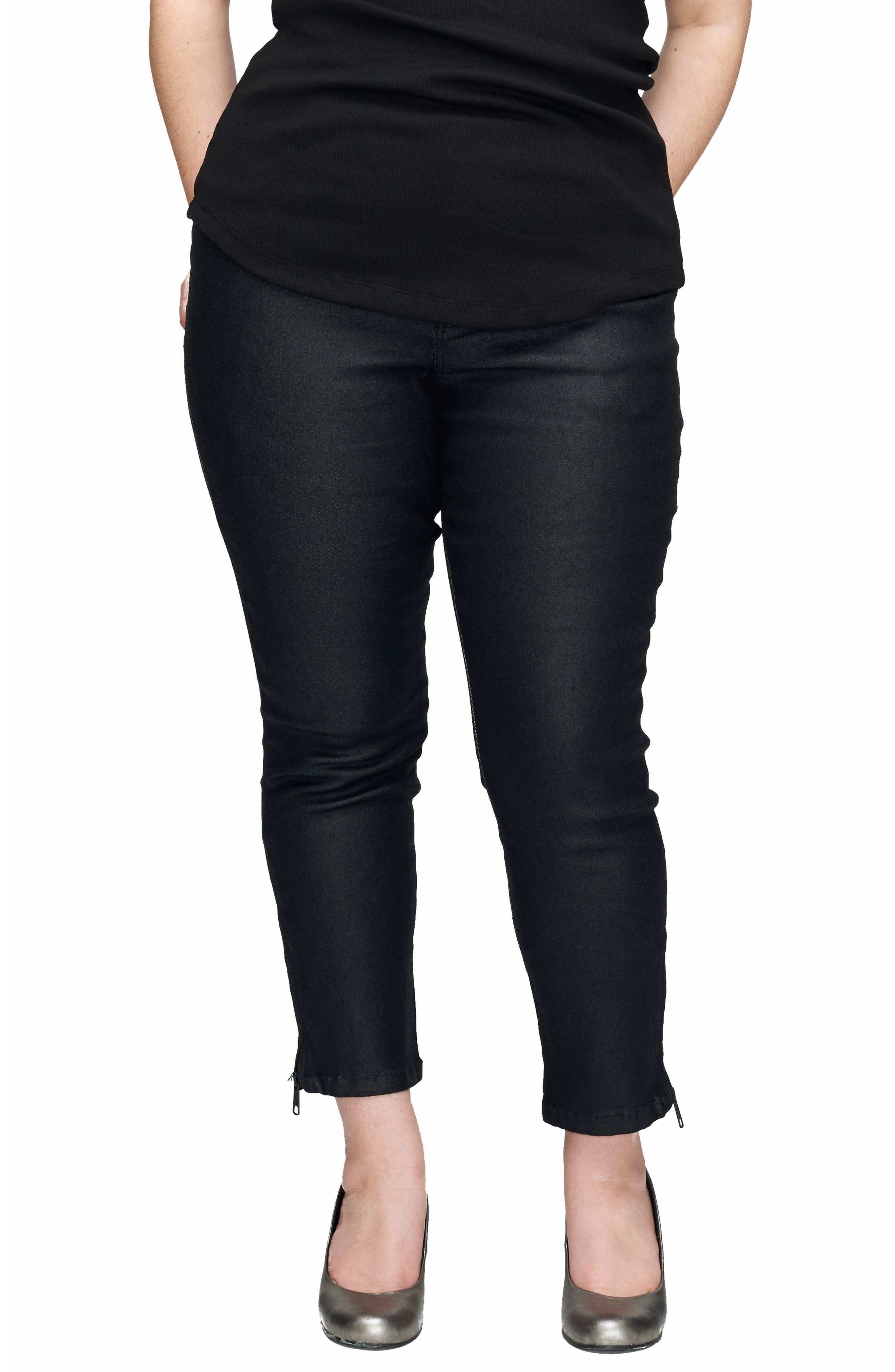 Meuse Resin Tapered Ankle Jeans,                             Main thumbnail 1, color,                             BLACK