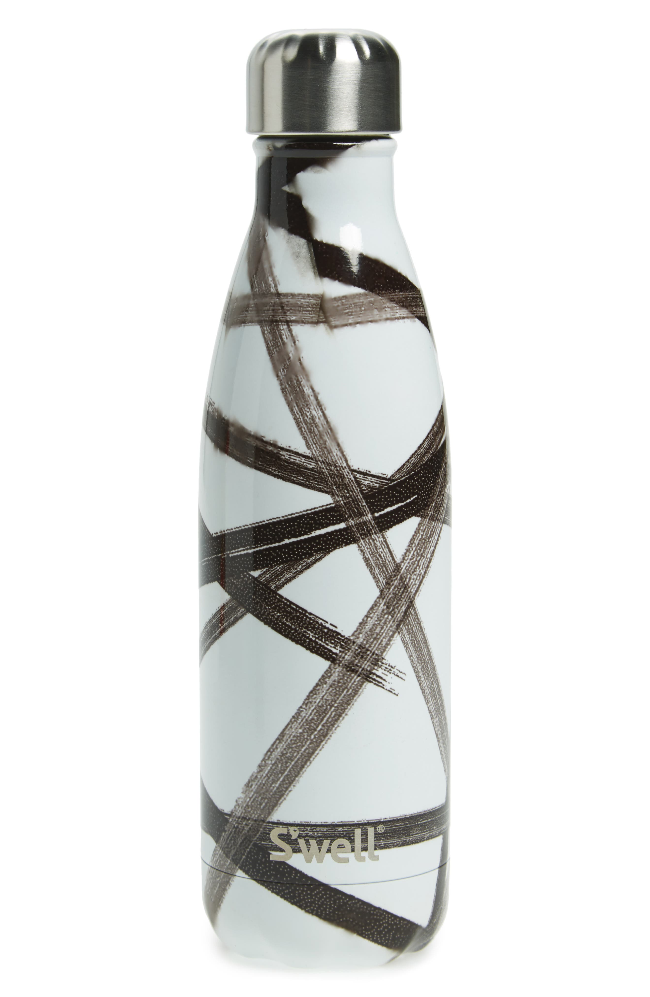 Black Ribbon Insulated Stainless Steel Water Bottle,                             Main thumbnail 1, color,                             119