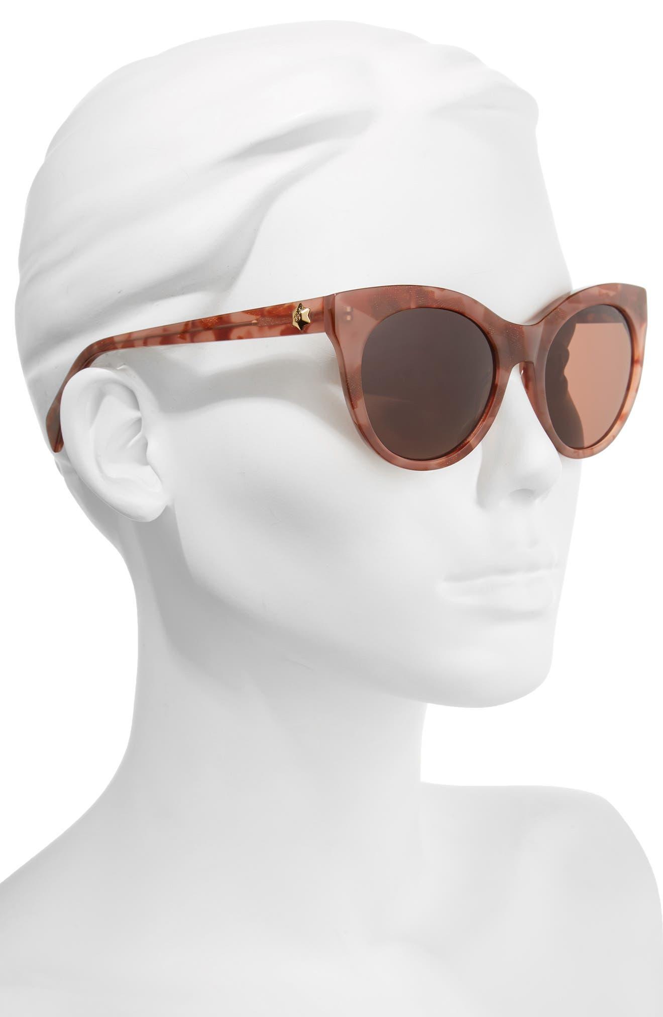 52mm Round Cat Eye Sunglasses,                             Alternate thumbnail 8, color,