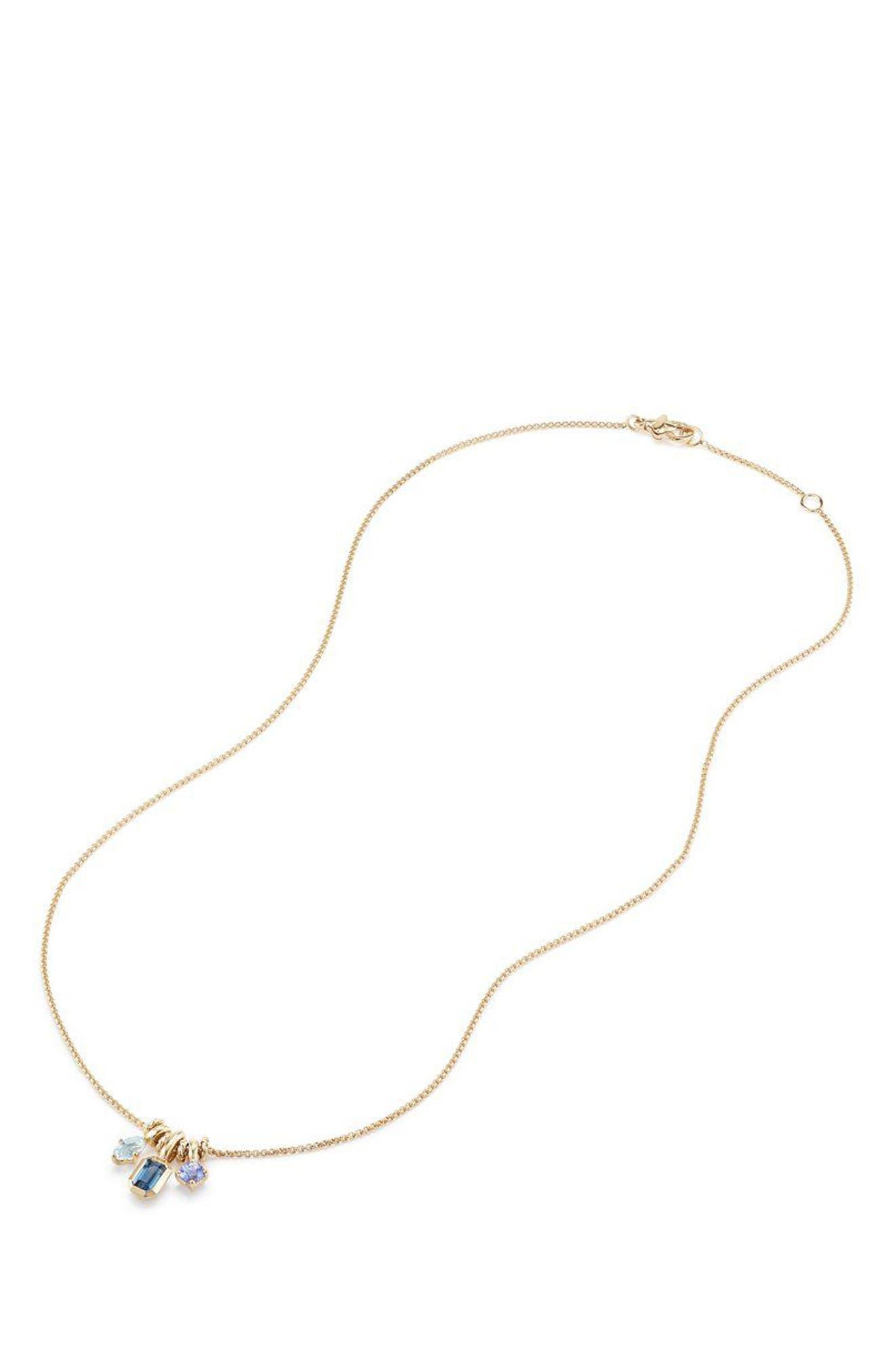 Novella Pendant Necklace in 18K Gold,                             Alternate thumbnail 2, color,                             GOLD/ BLUE TOPAZ/ AQUAMARINE