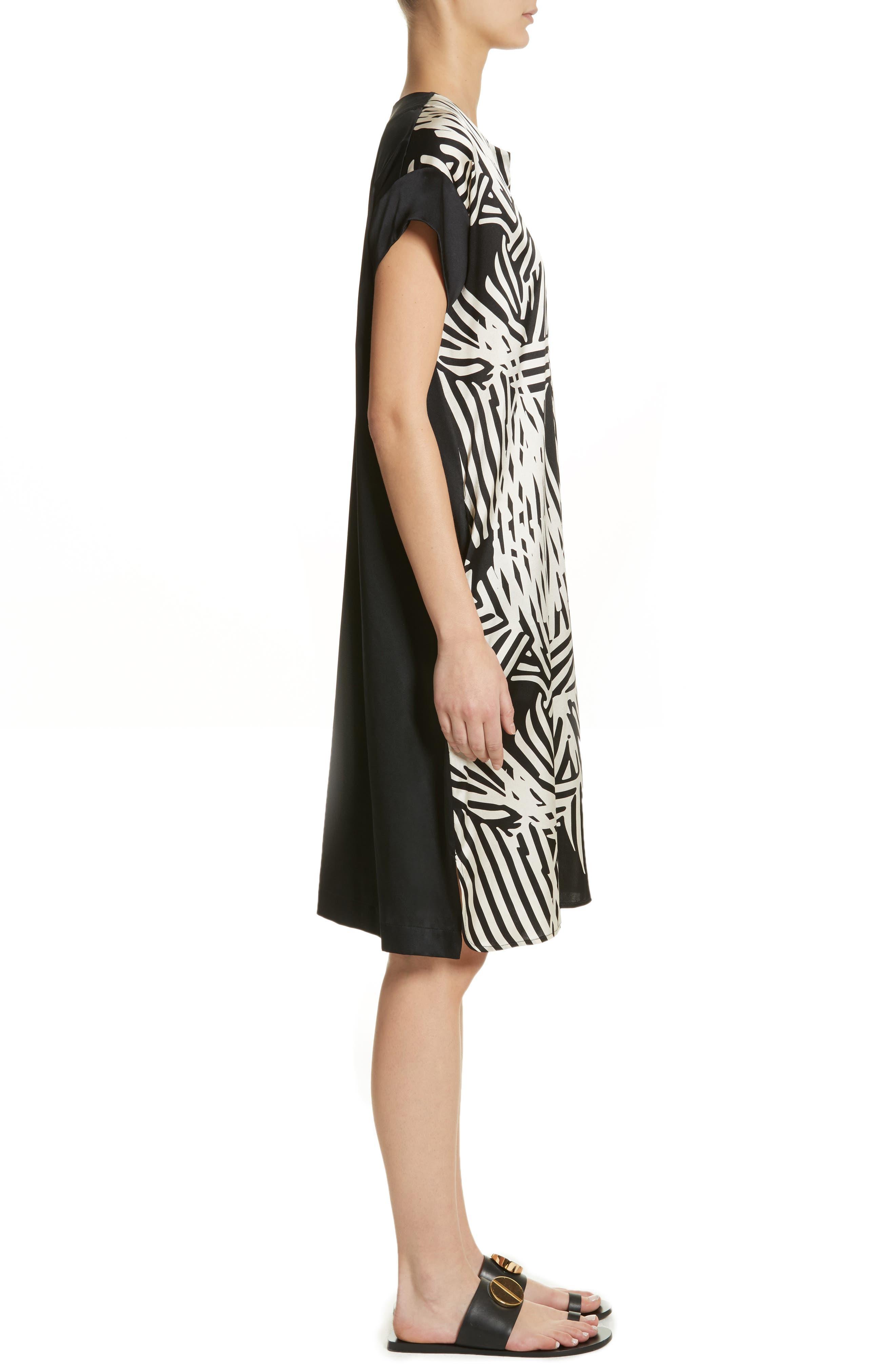 Bow Print Silk Blend Dress,                             Alternate thumbnail 3, color,                             001