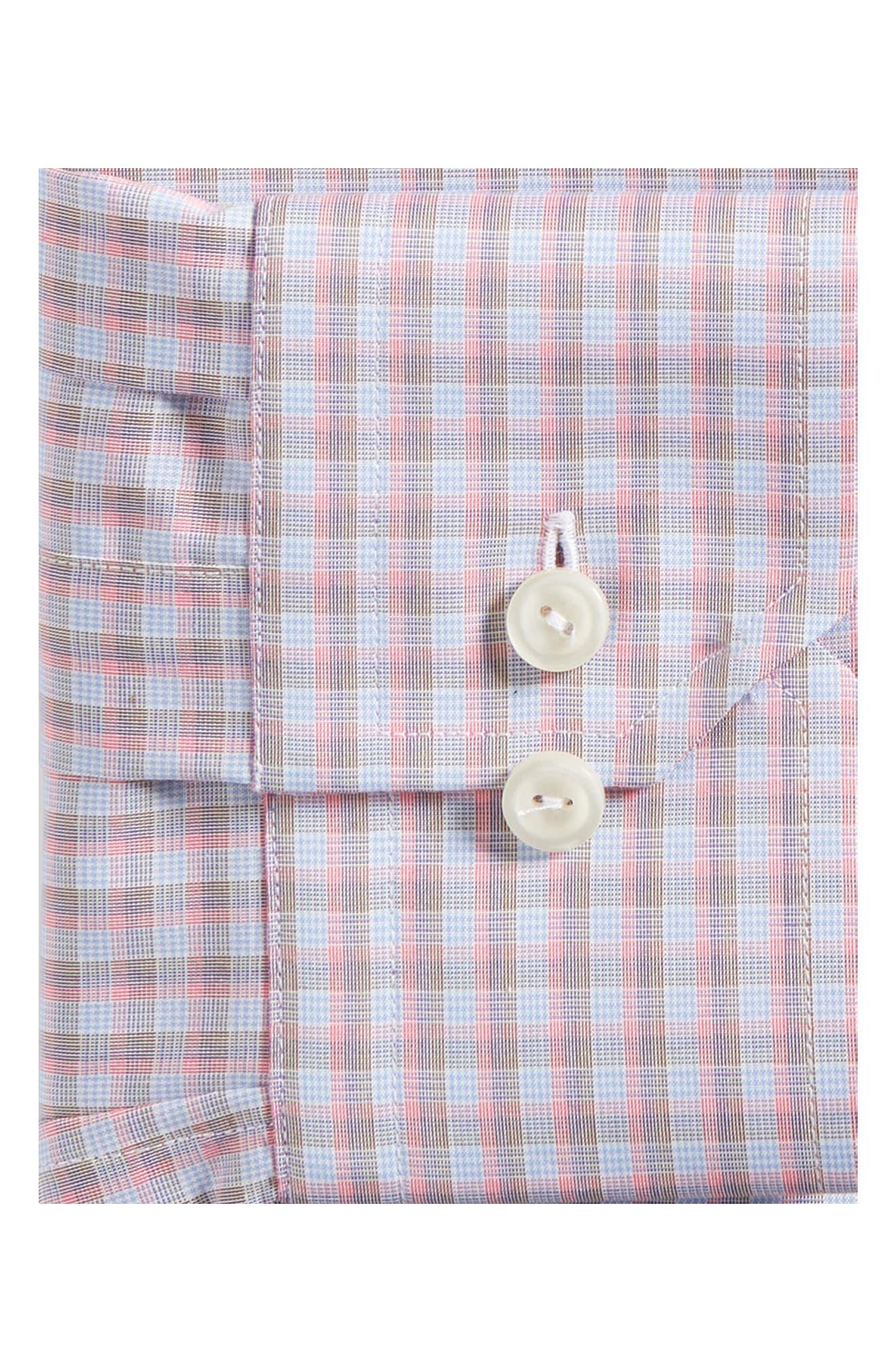 Contemporary Fit Plaid Dress Shirt,                             Alternate thumbnail 6, color,                             PINK