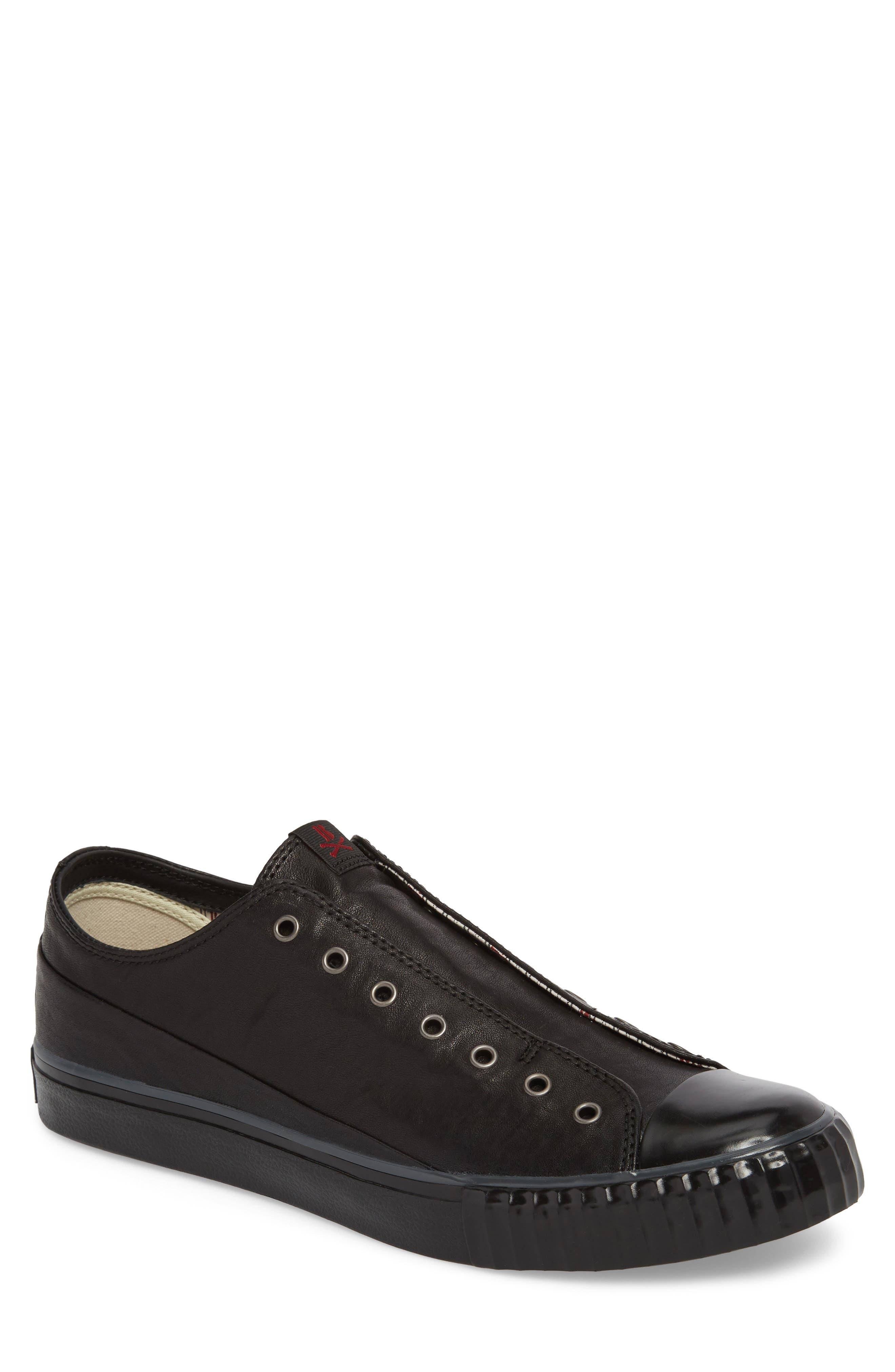 John Varvatos Star USA Bootleg Laceless Low Top Sneaker,                         Main,                         color, BLACK LEATHER