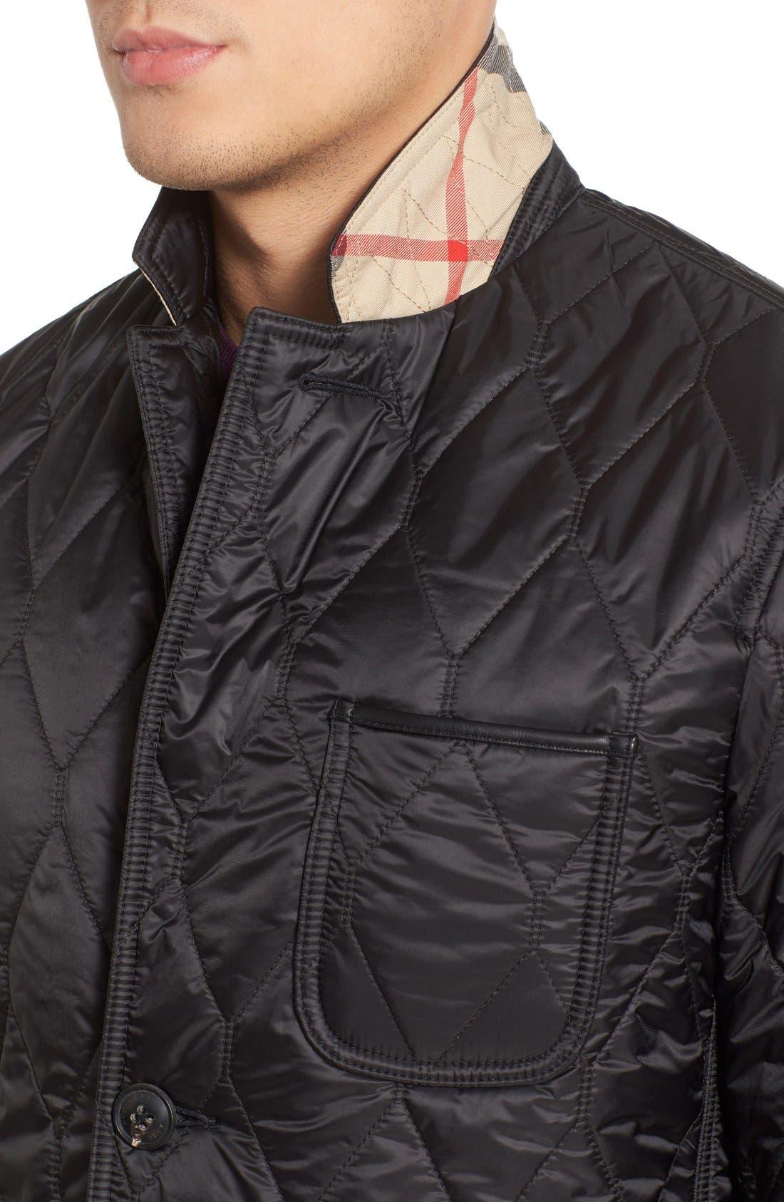 Gillington Water Resistant Quilted Jacket,                             Alternate thumbnail 6, color,                             BLACK