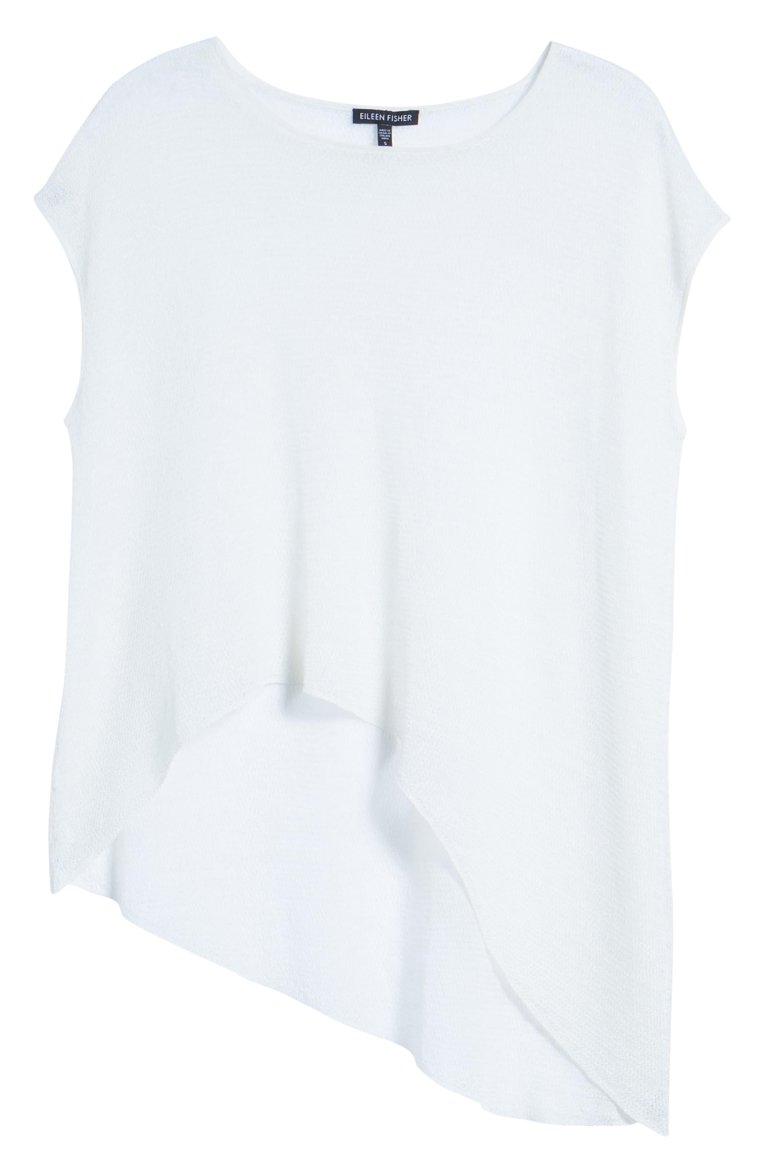 Sheer Asymmetrical Cap Sleeve Sweater,                             Alternate thumbnail 6, color,                             907
