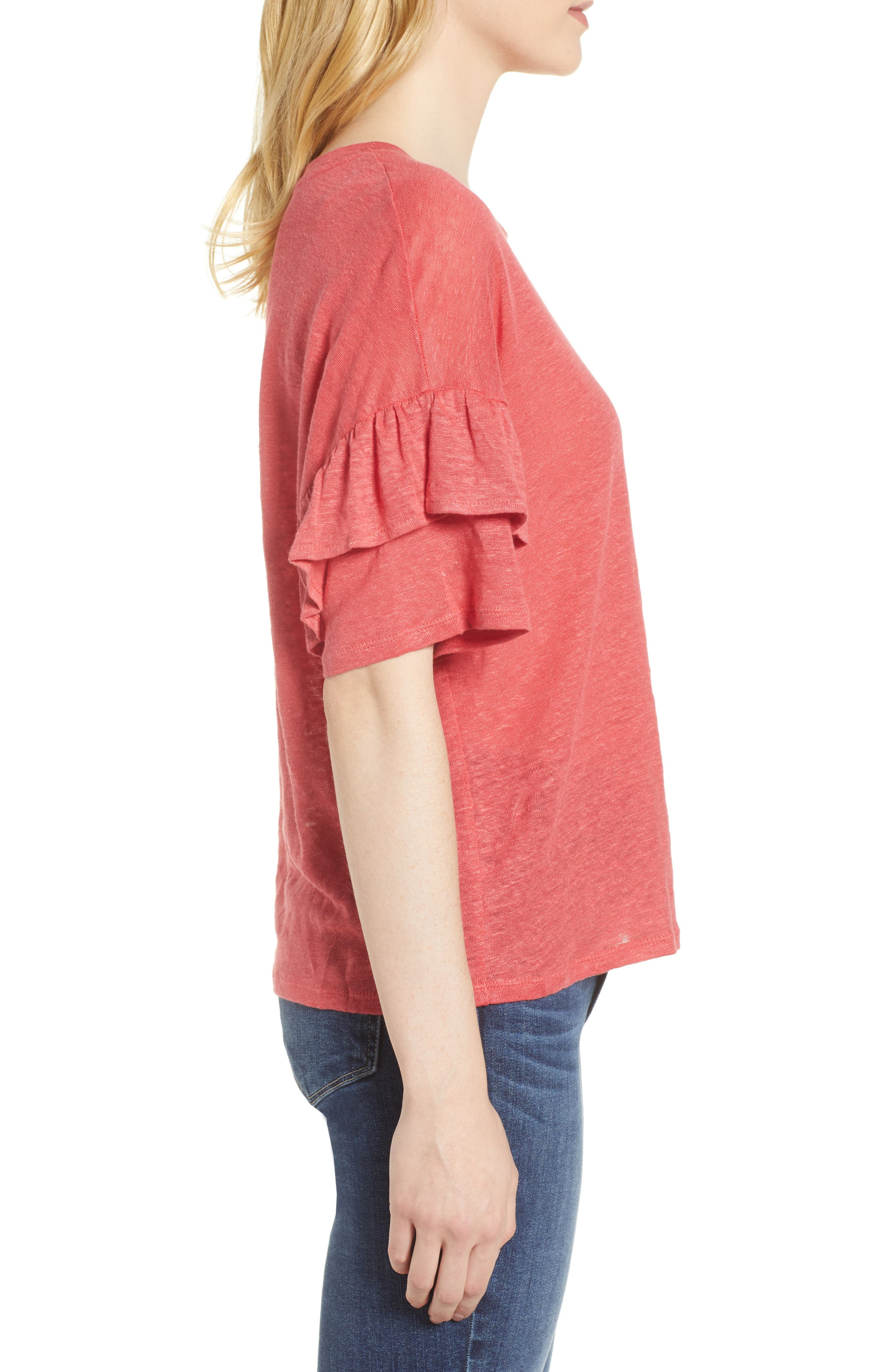 Ruffle Linen Tee,                             Alternate thumbnail 3, color,                             DARK CORAL REEF