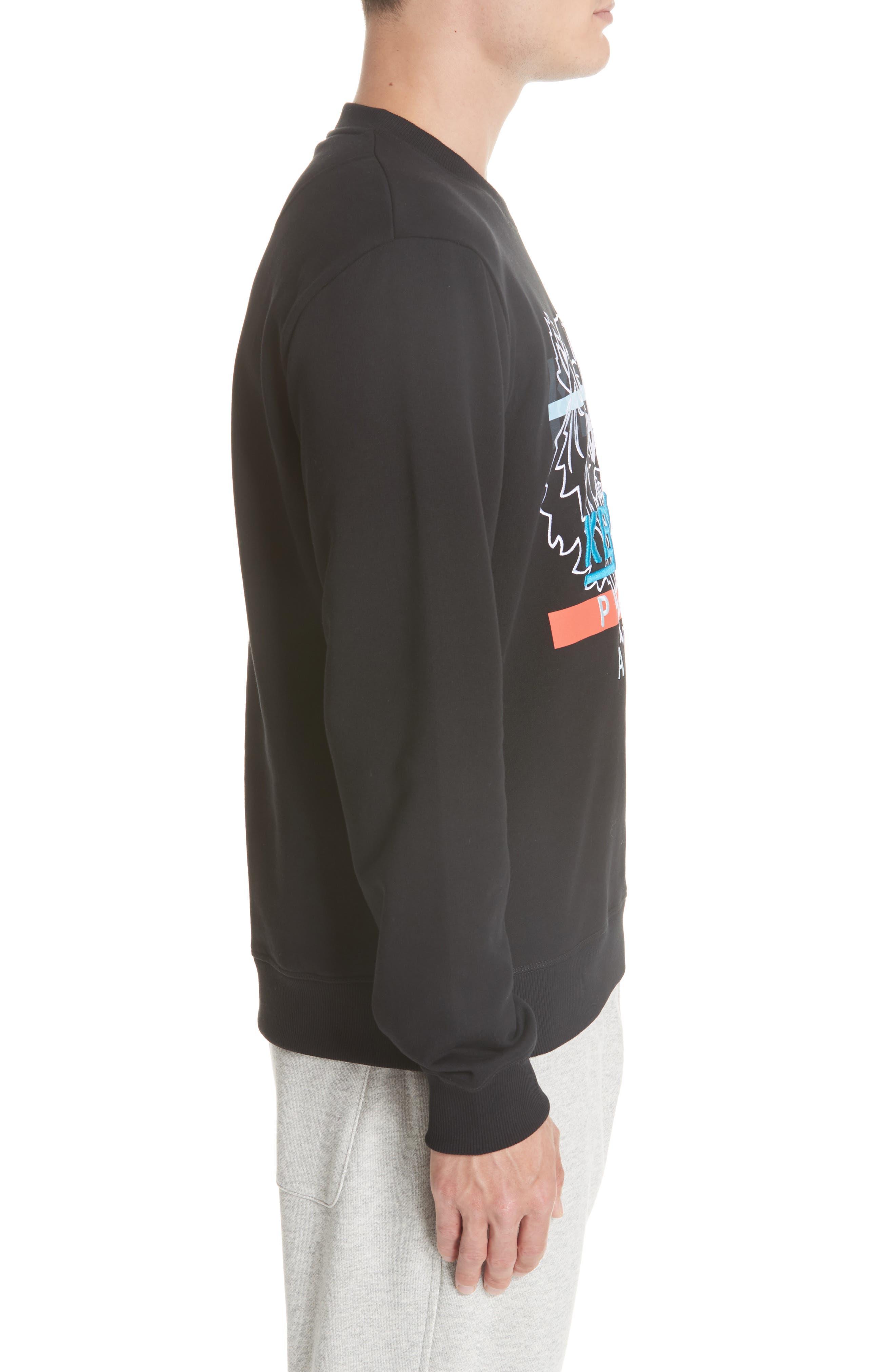 KENZO,                             Hyper Tiger Logo Sweatshirt,                             Alternate thumbnail 3, color,                             001