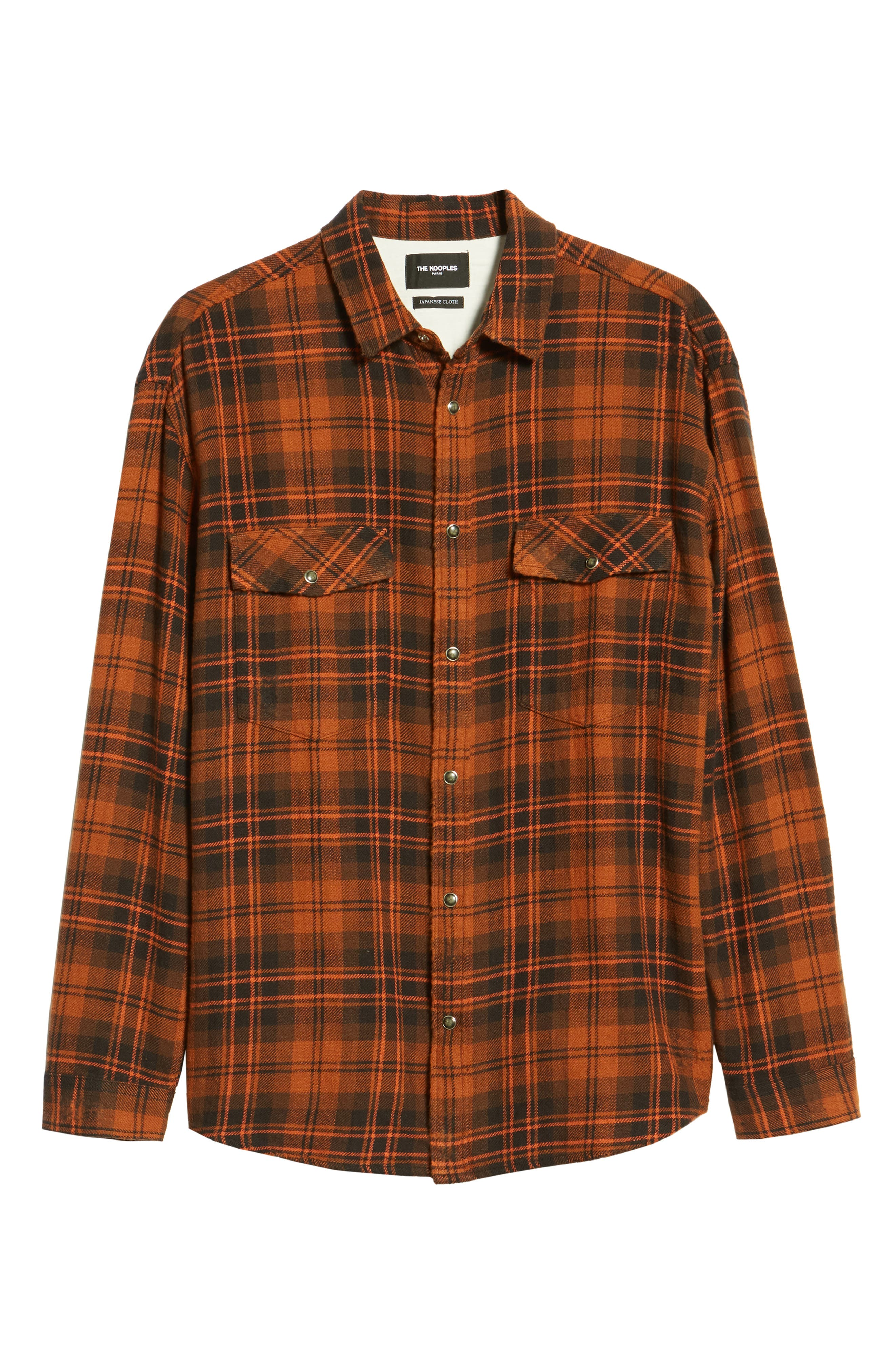Destroyed Check Flannel Shirt,                             Alternate thumbnail 5, color,                             001