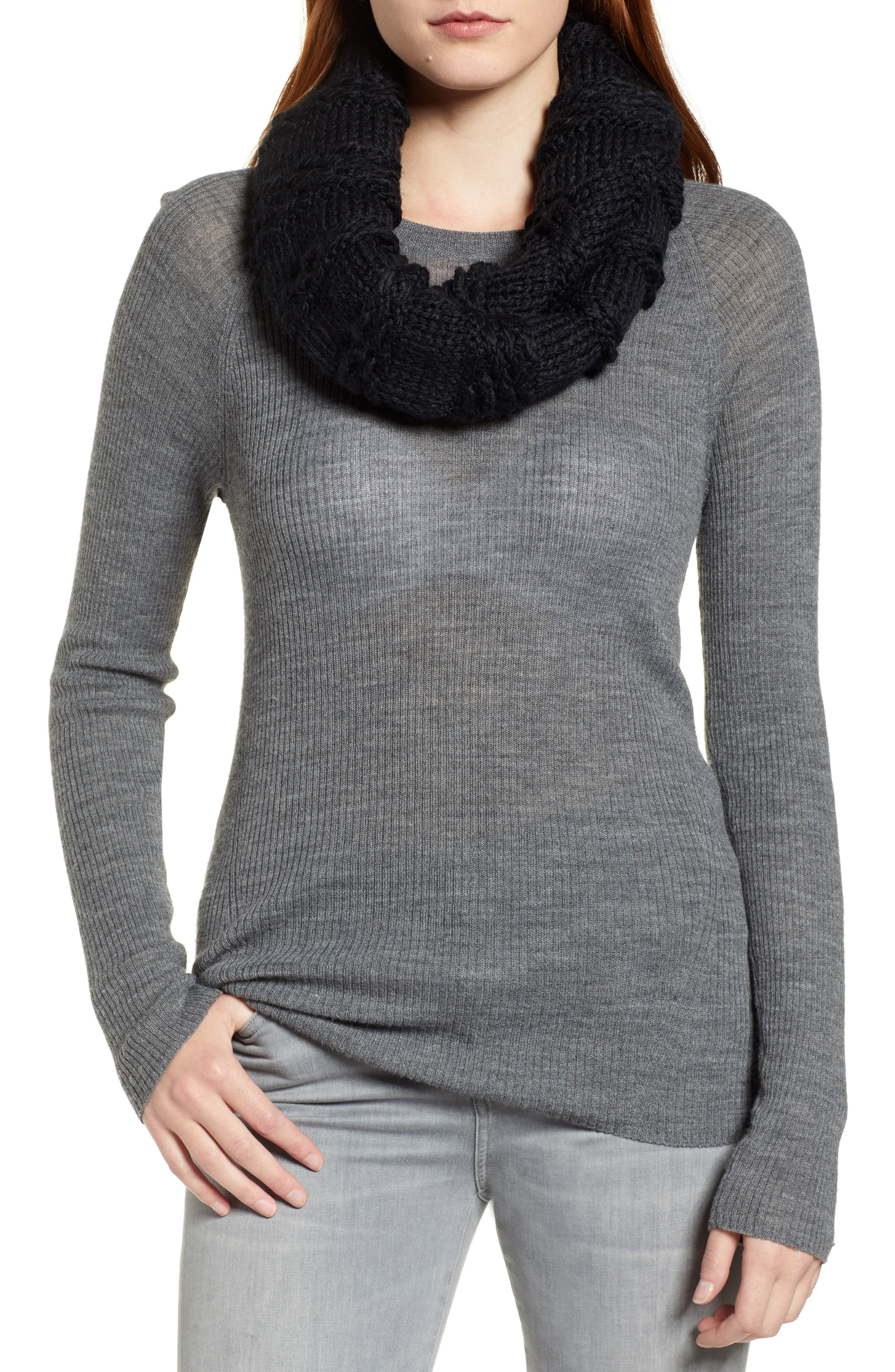 Chunky Neck Warmer,                             Alternate thumbnail 4, color,                             BLACK