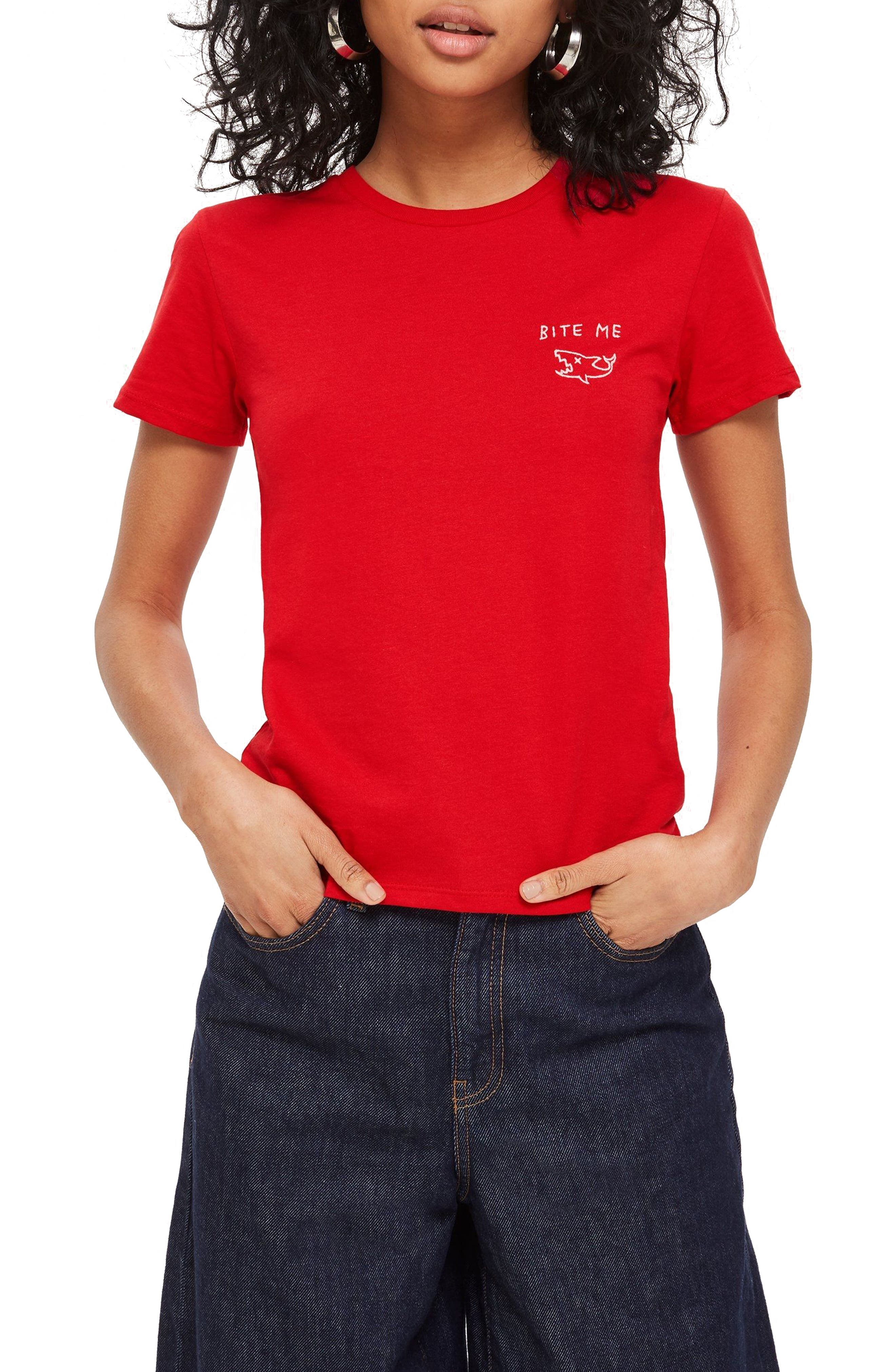 Bite Me Embroidered Tee,                         Main,                         color, RED